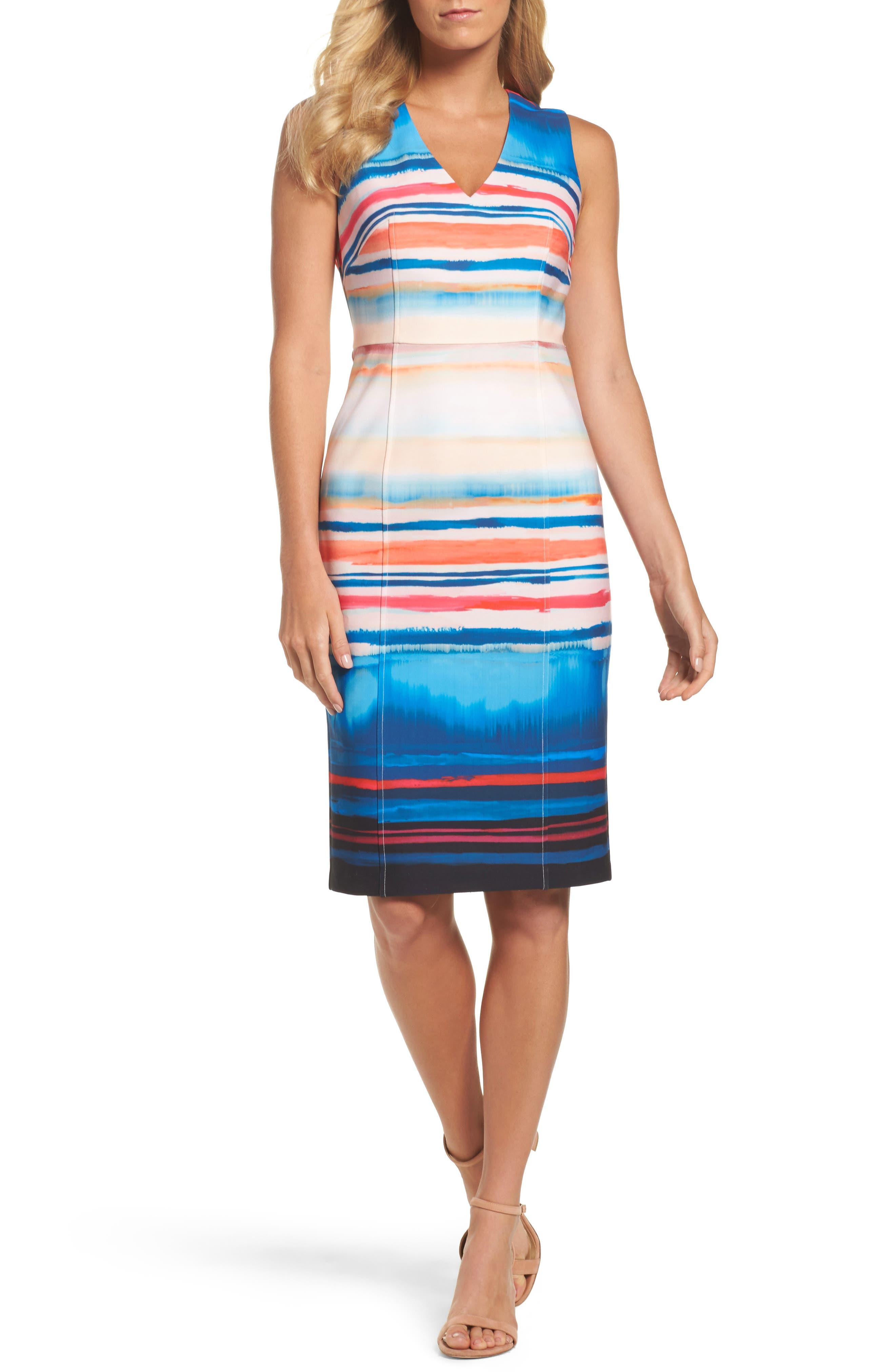 Scuba Sheath Dress,                         Main,                         color, Black Multi