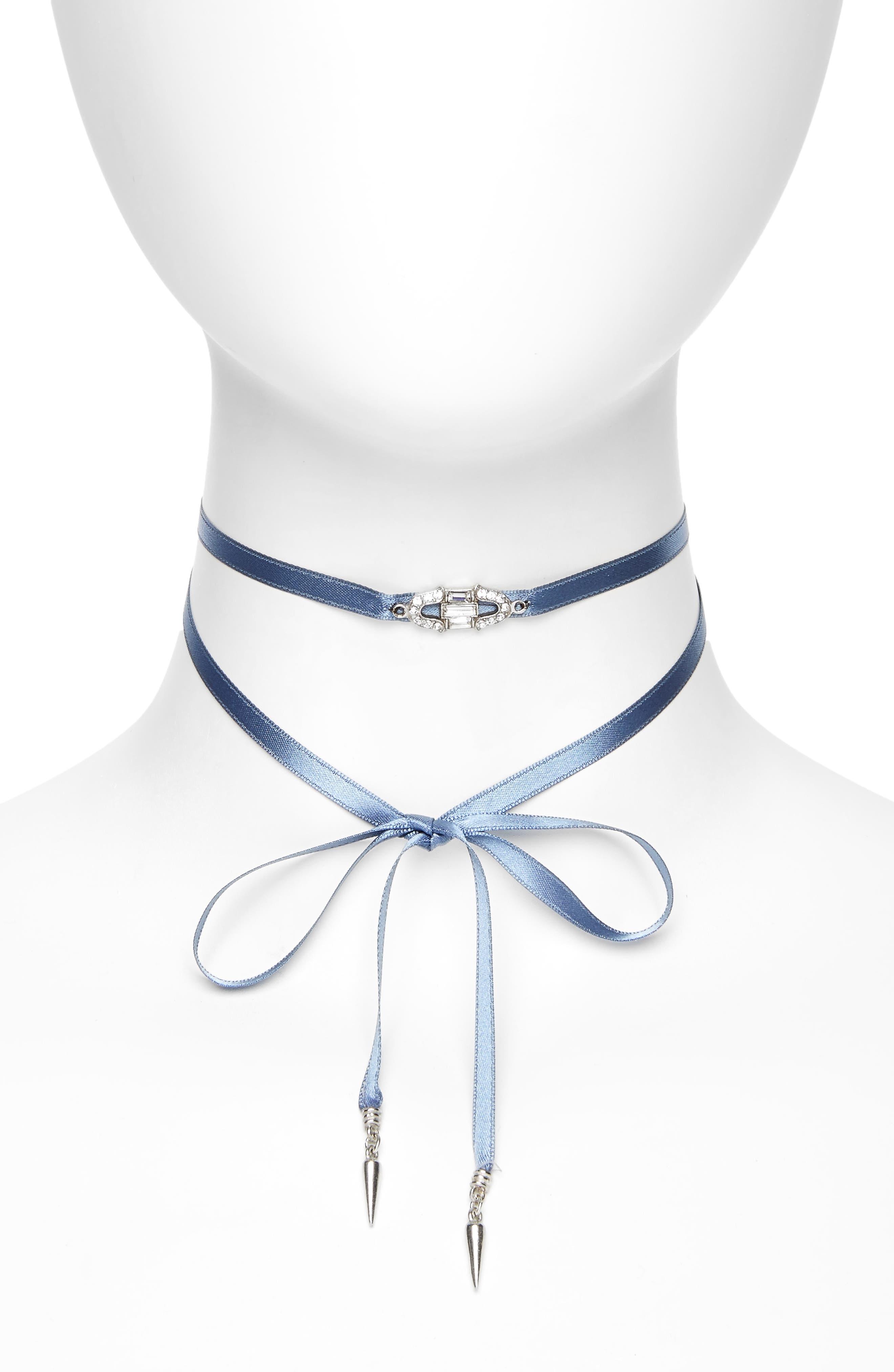 Deco Wrap Choker Necklace,                         Main,                         color, Light Blue / Silver