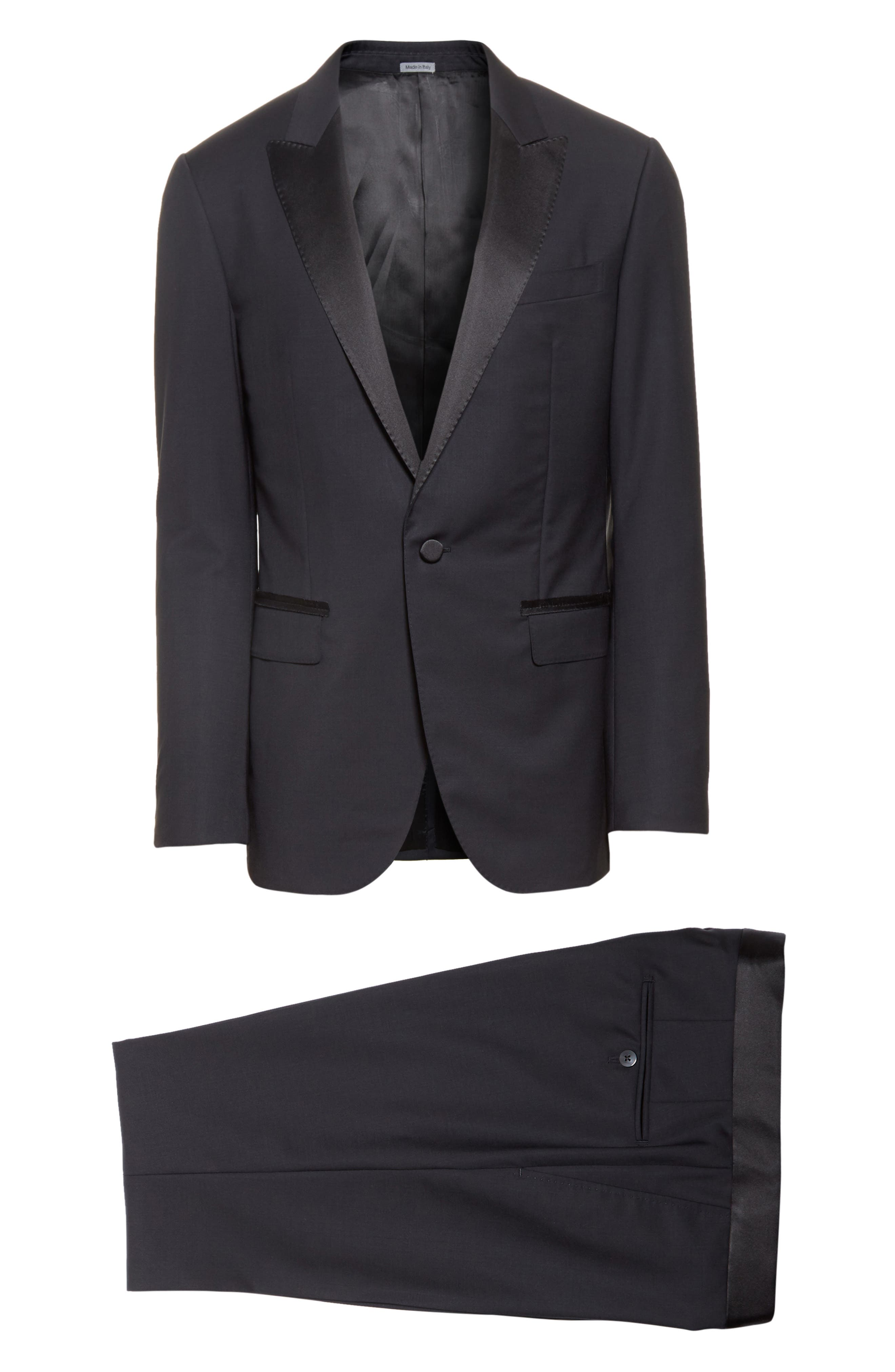 Peak Lapel Wool Blend Tuxedo,                             Alternate thumbnail 8, color,                             Navy