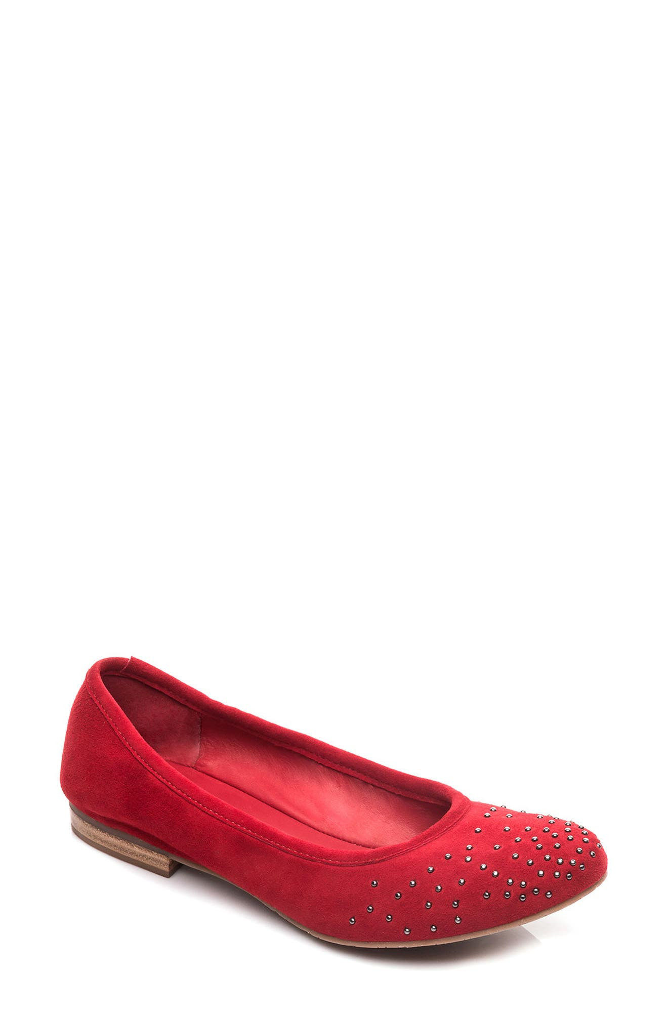 Dallas Studded Flat,                             Main thumbnail 1, color,                             Red Suede