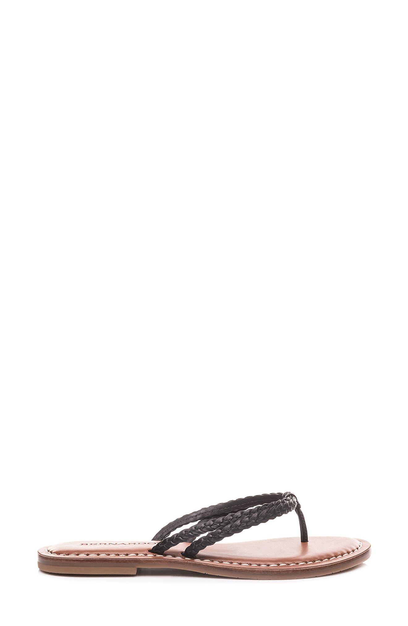 Bernardo Greta Braided Strap Sandal,                             Alternate thumbnail 3, color,                             Black Leather