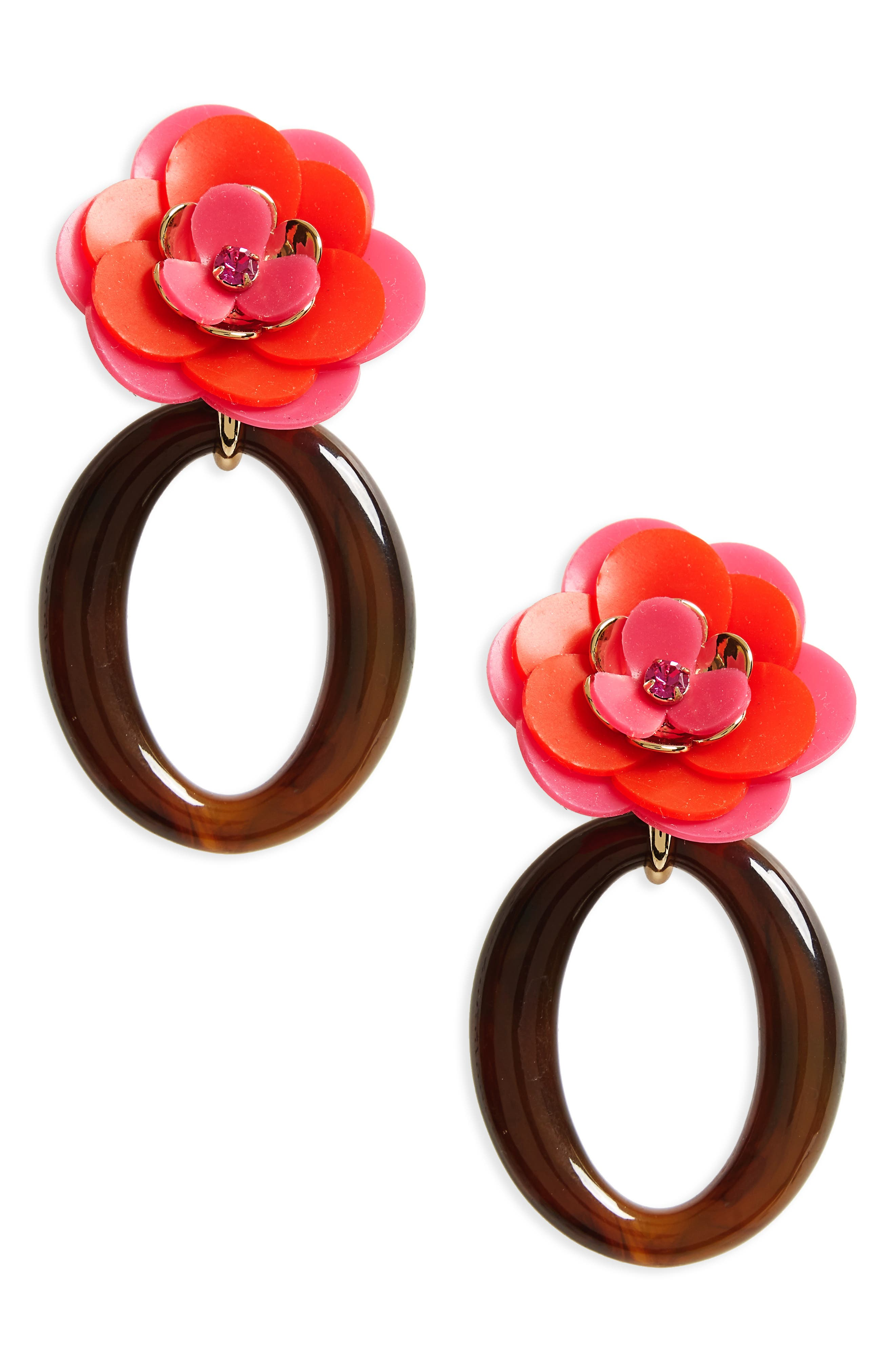 rosy posies statement drop earrings,                             Main thumbnail 1, color,                             Pink Multi