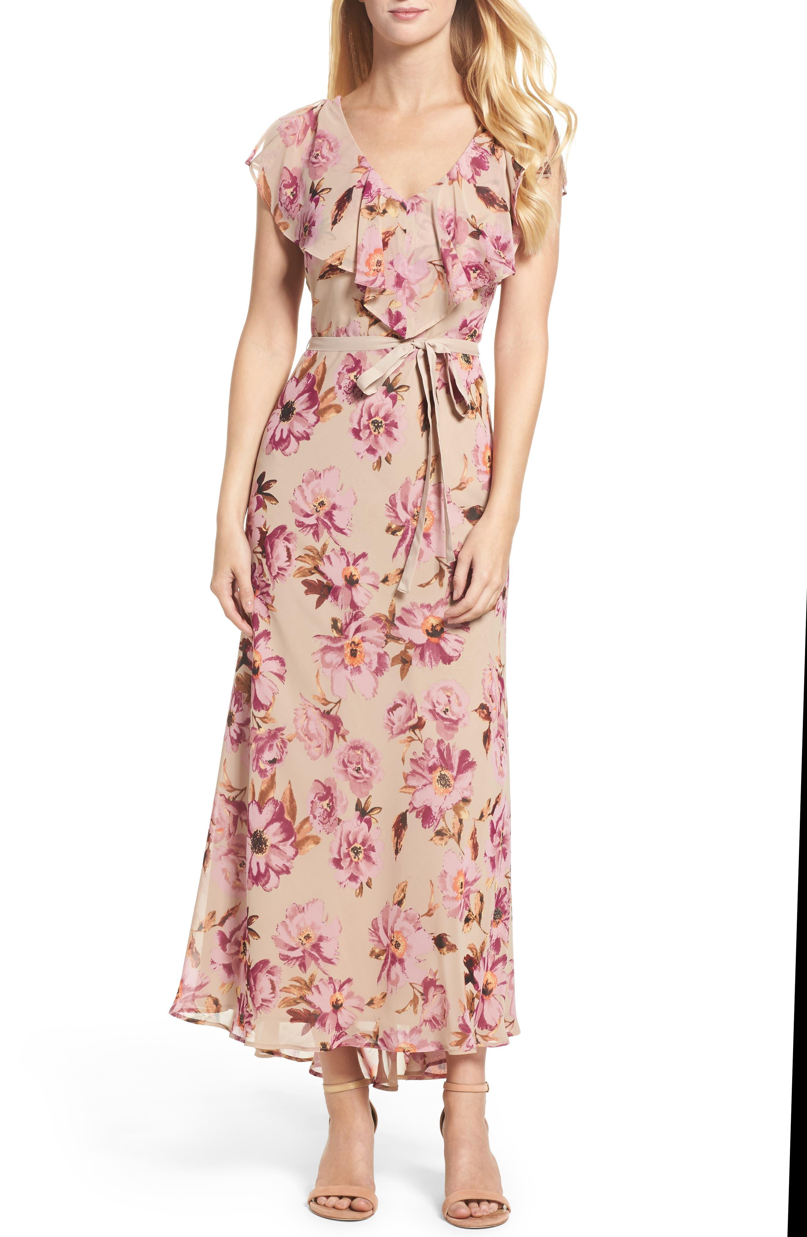 Chiffon Maxi Dress,                         Main,                         color, Vintage Plum