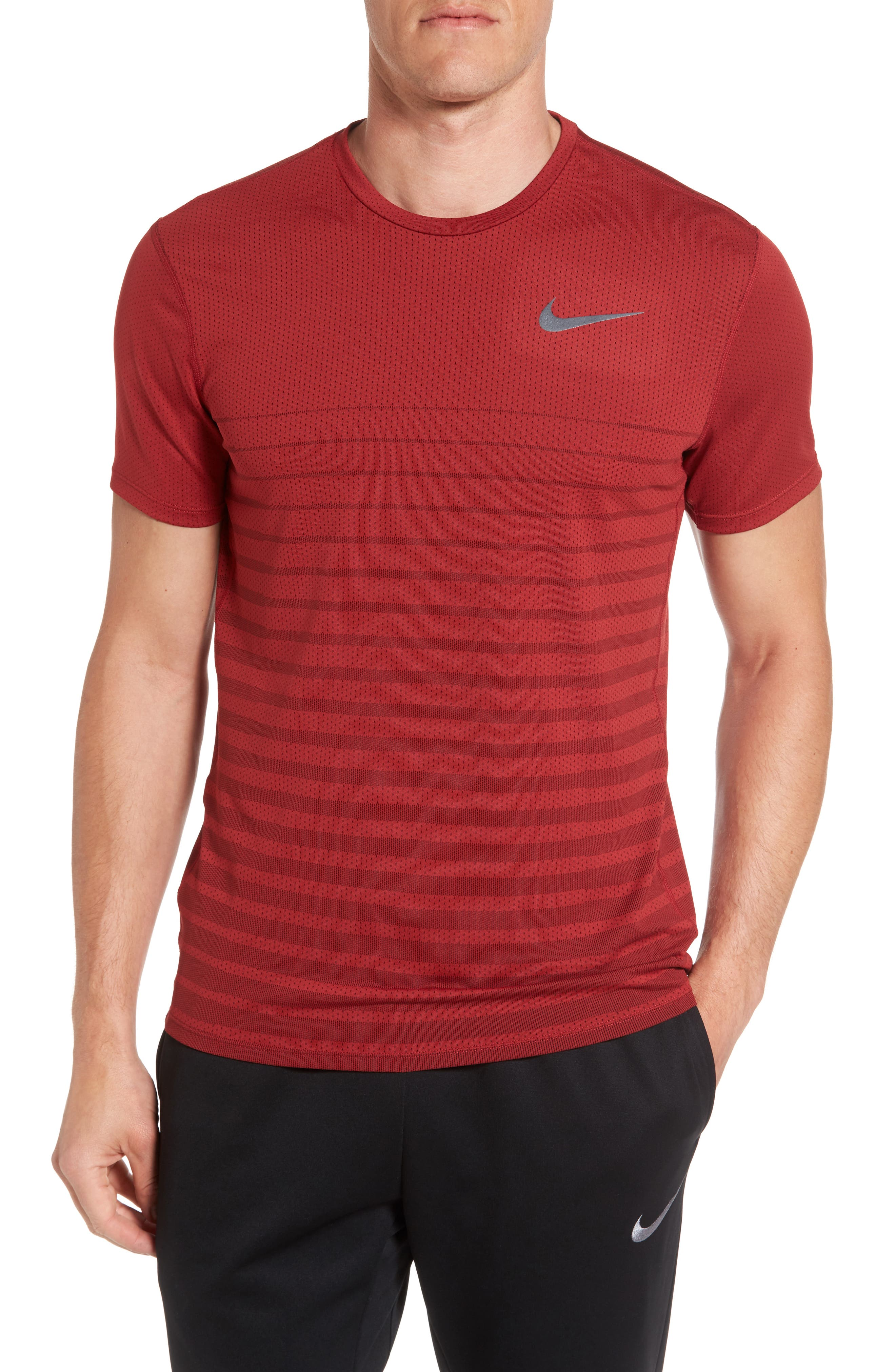 Mesh Running T-Shirt,                         Main,                         color, Tough Red