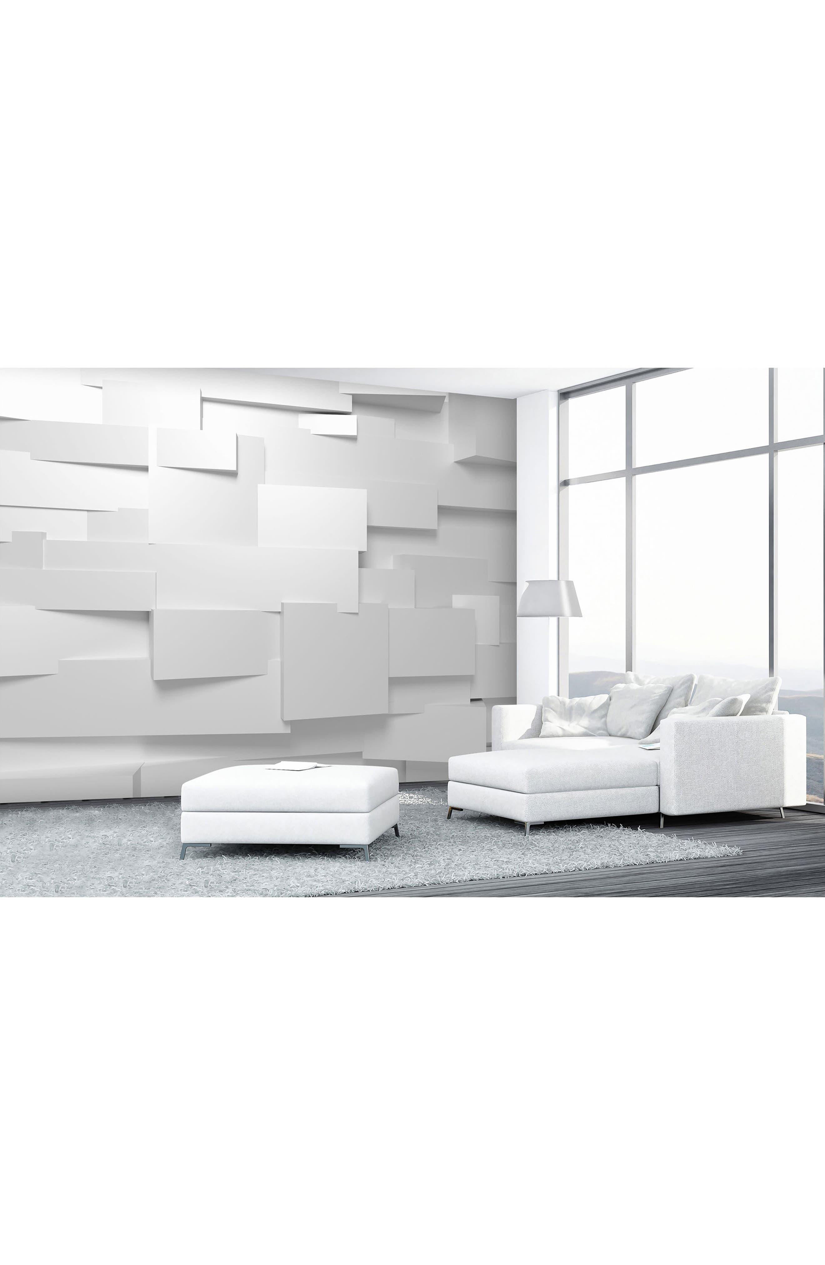 3D Effect 8-Panel Wall Mural,                             Alternate thumbnail 2, color,                             White Multi