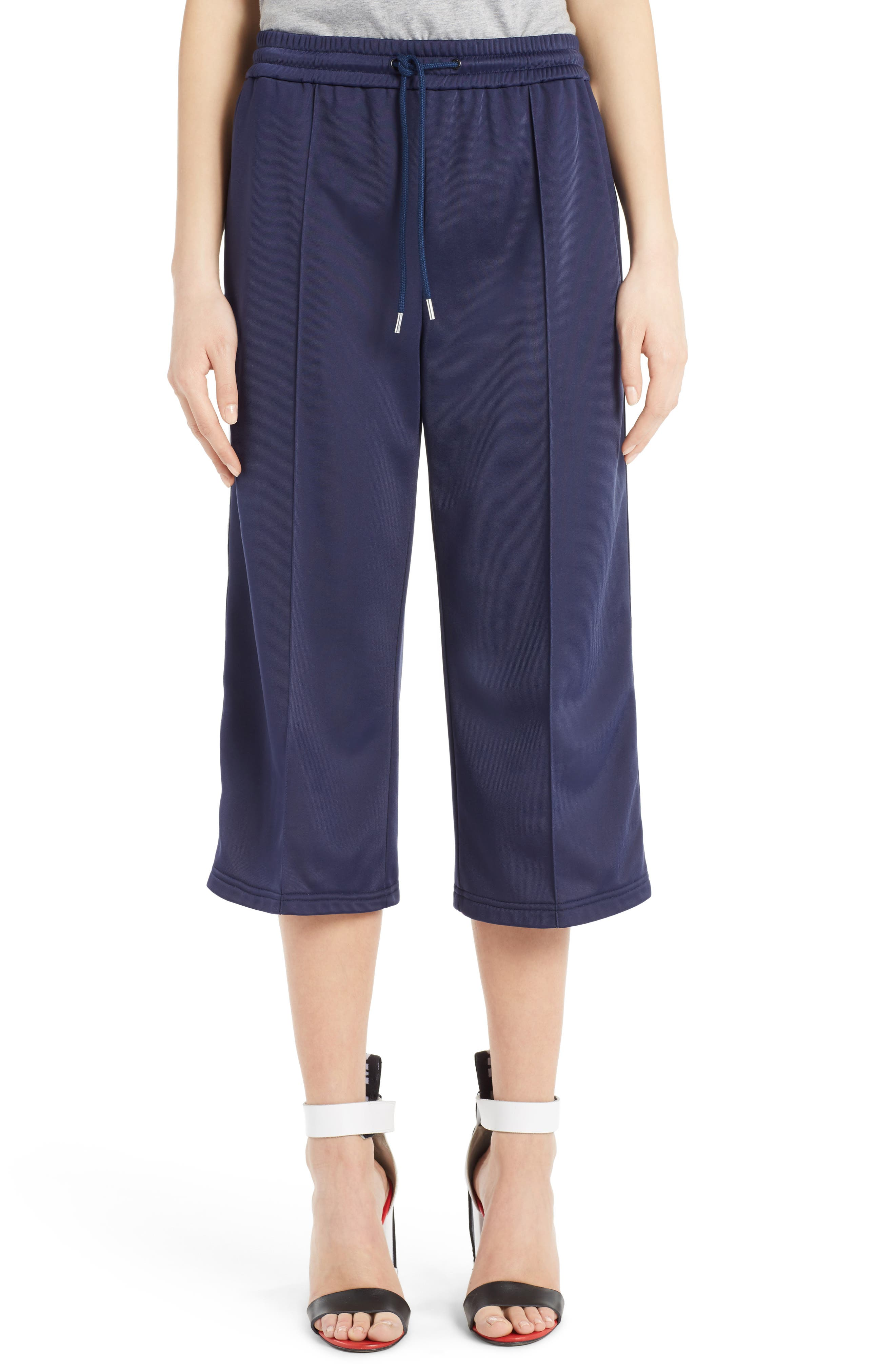 Crop Wide Leg Track Pants,                             Main thumbnail 1, color,                             Dark Blue