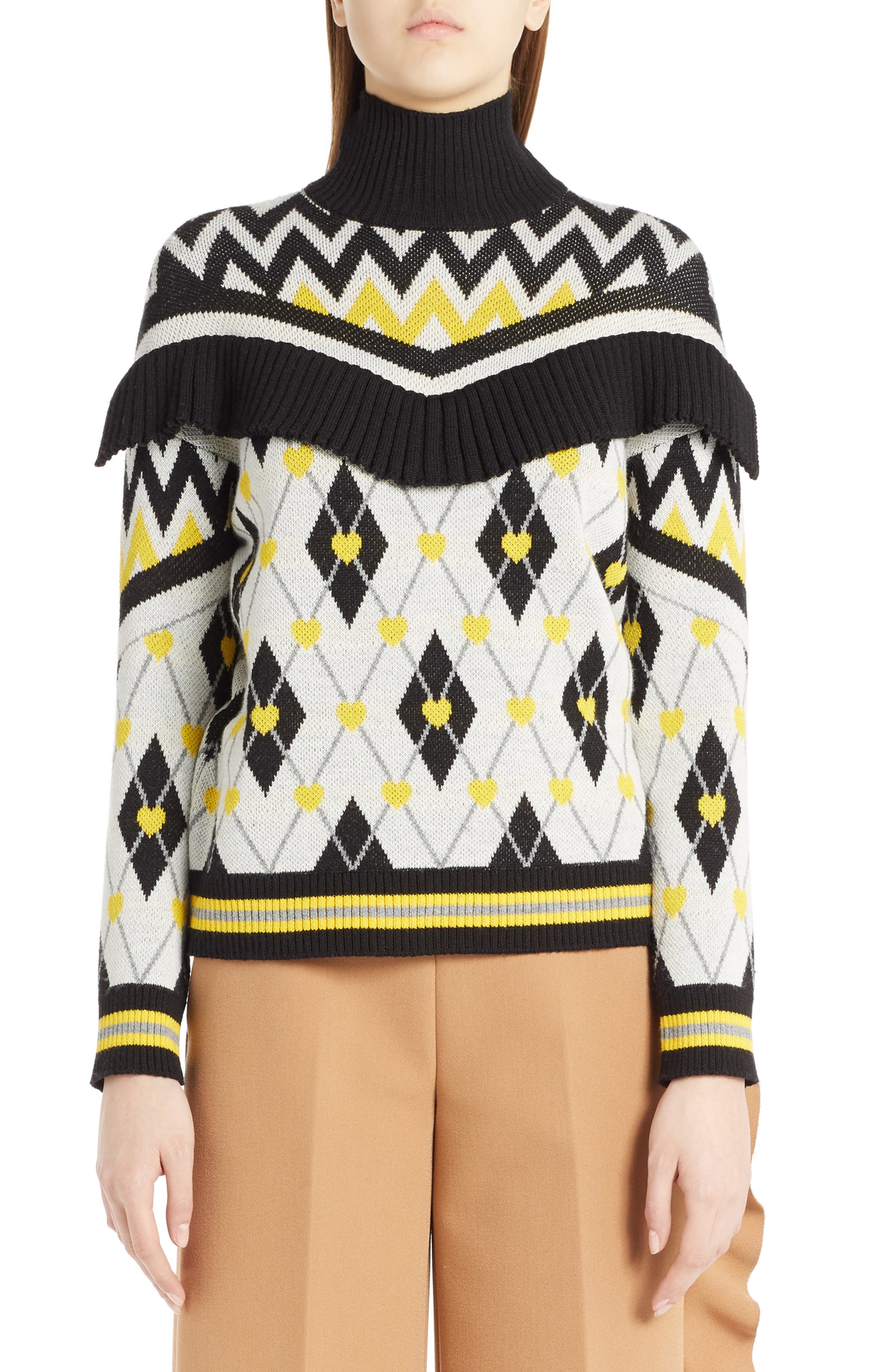 Argyle Heart Turtleneck Sweater,                             Main thumbnail 1, color,                             White