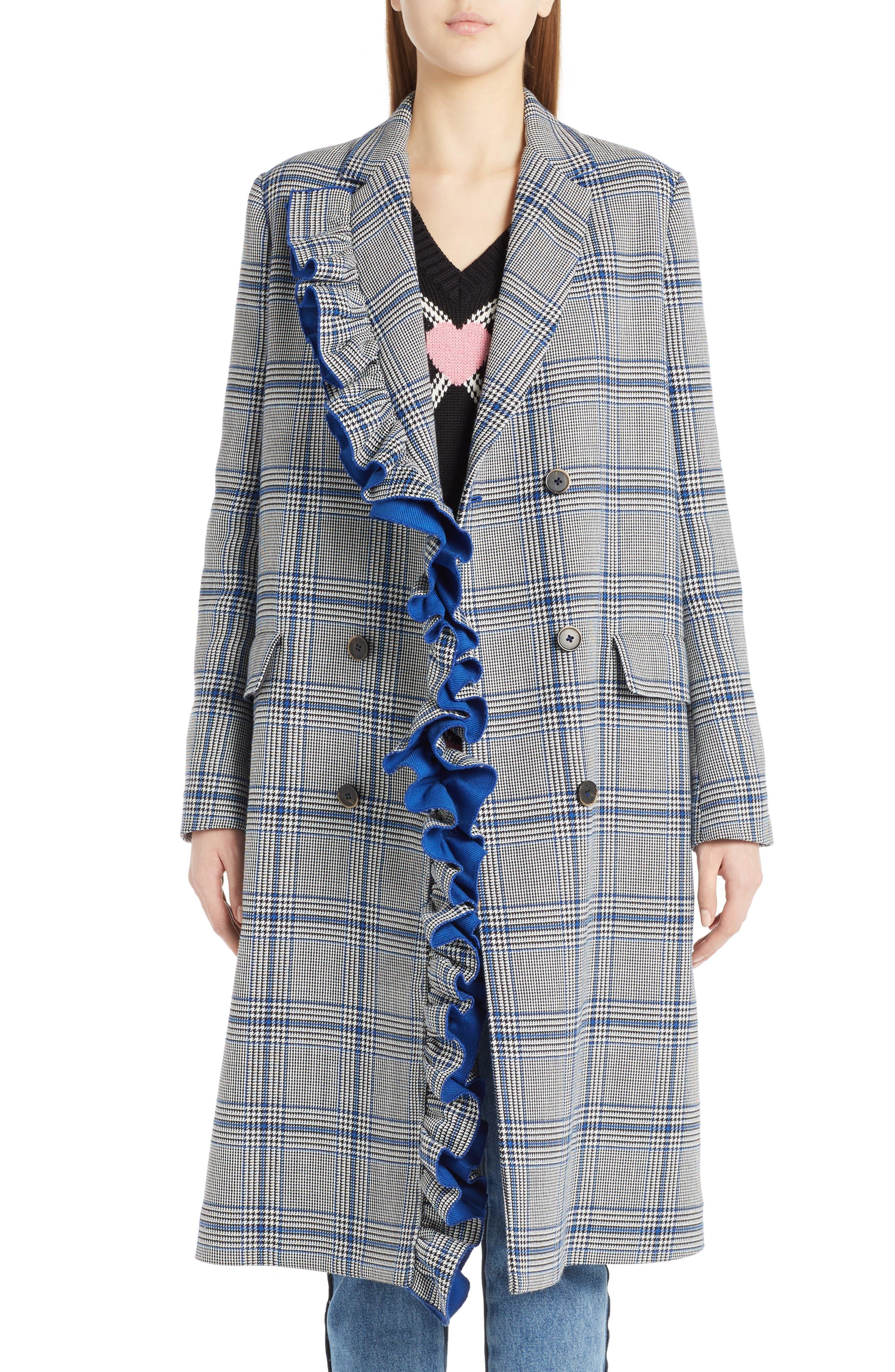 MSGM Ruffle Plaid Coat