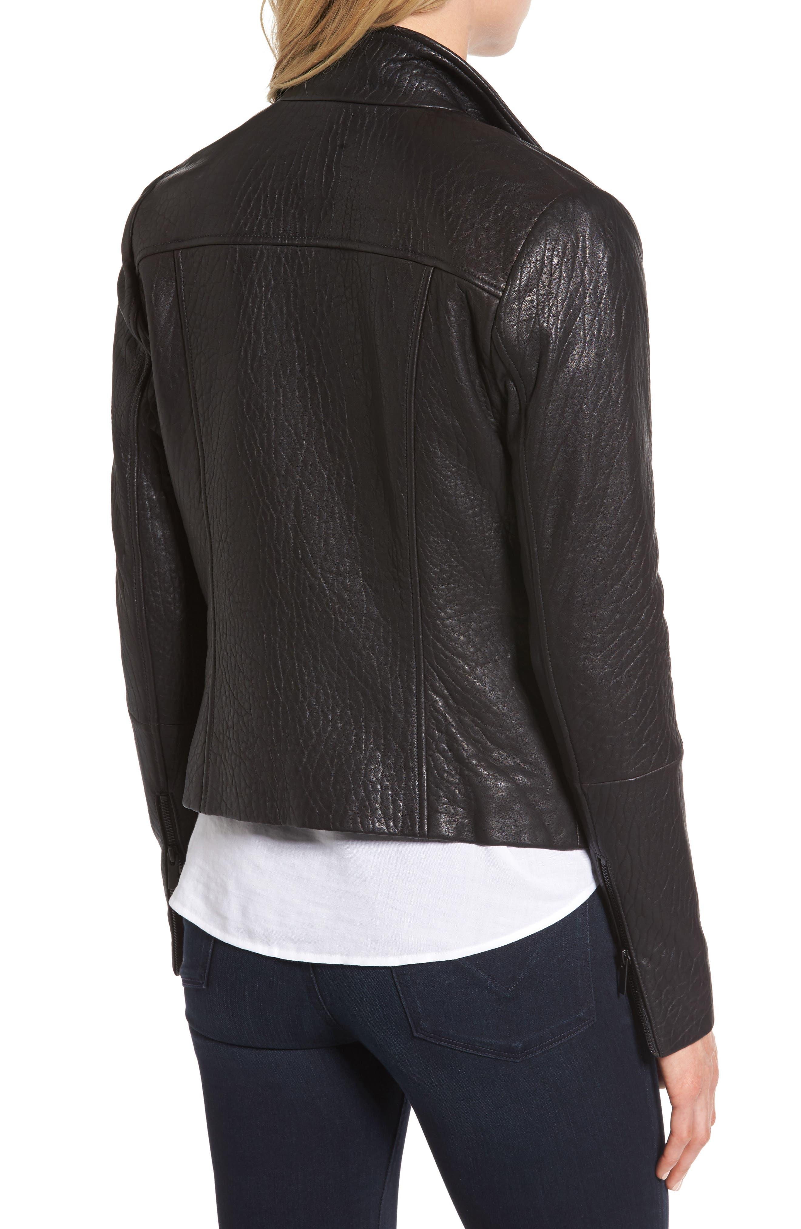 Alternate Image 4  - Halogen® Leather Jacket (Regular & Petite)