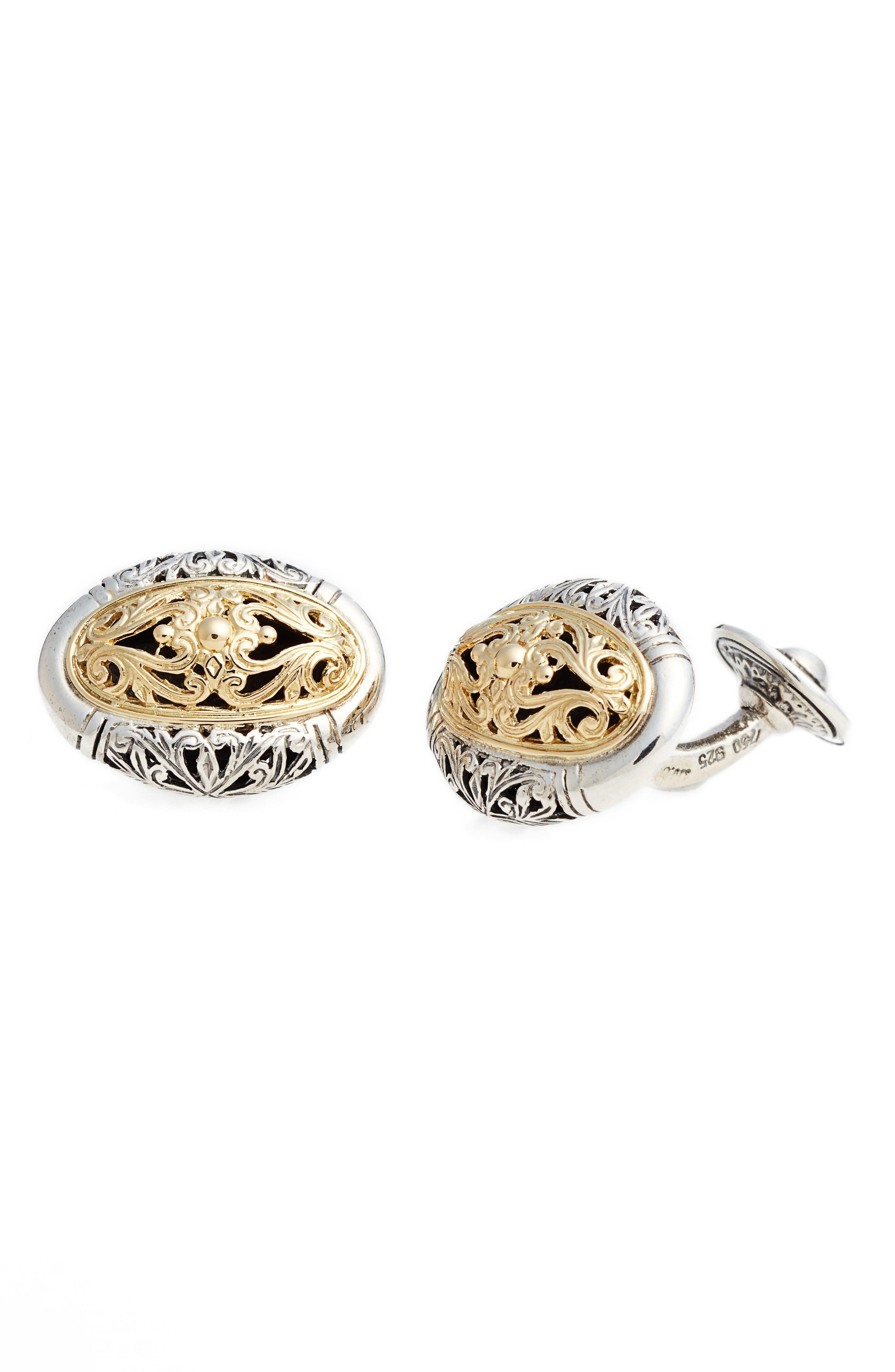 Classics Oval Cuff Links,                         Main,                         color, Silver/ Gold