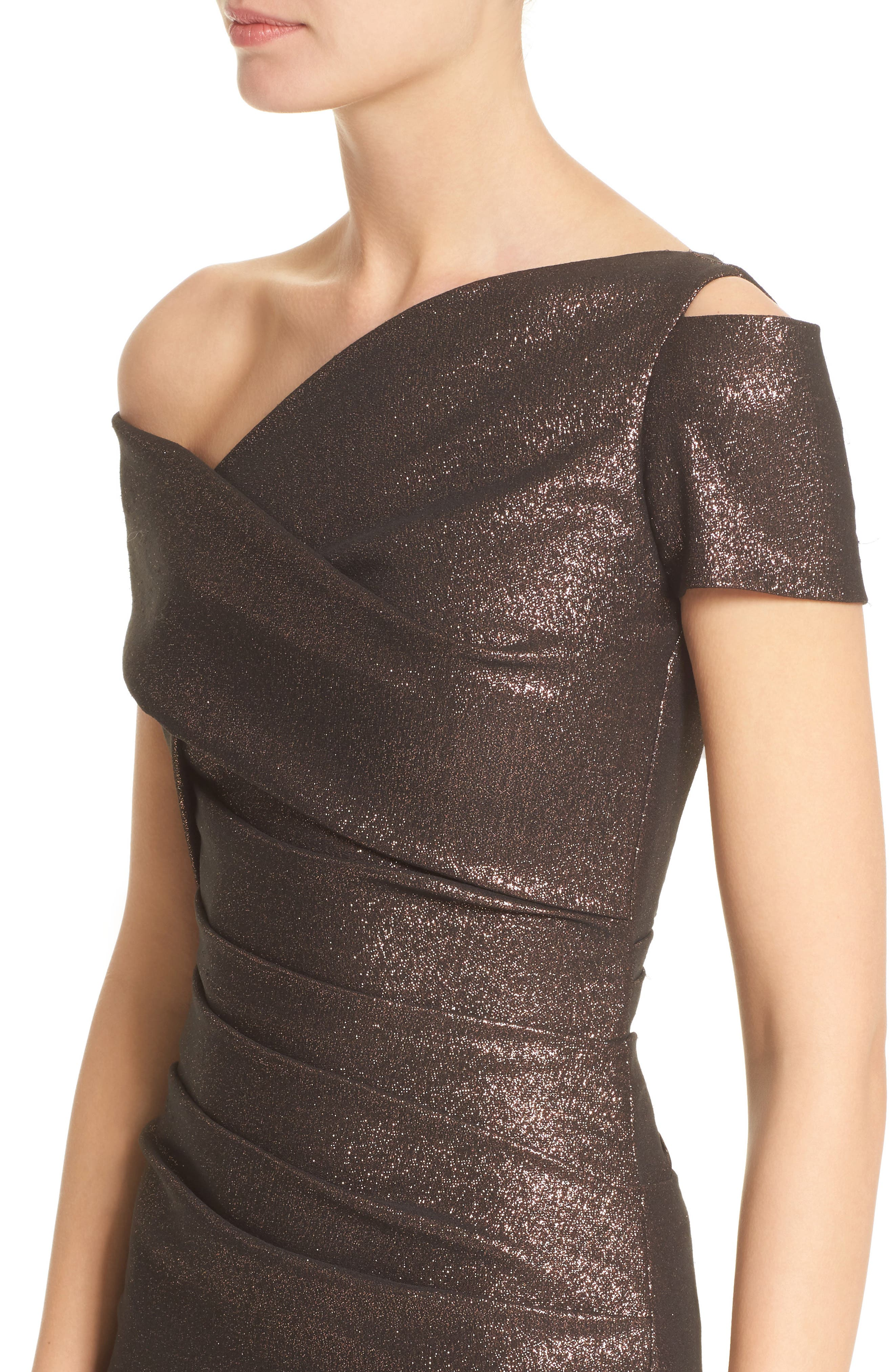 Glitter Knit Asymmetrical Mermaid Gown,                             Alternate thumbnail 4, color,                             Copper