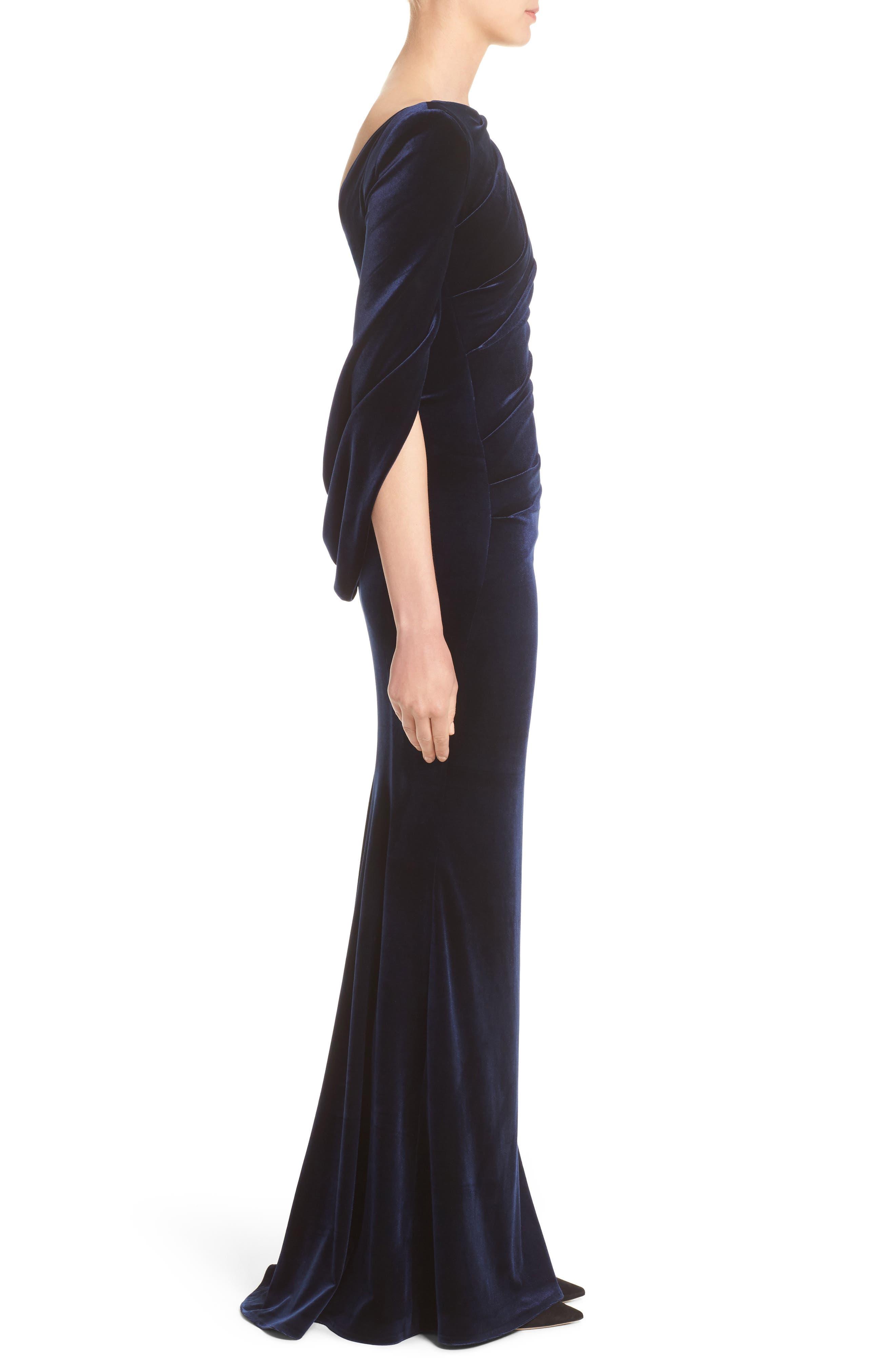 Velvet Column Gown,                             Alternate thumbnail 3, color,                             Moonlight