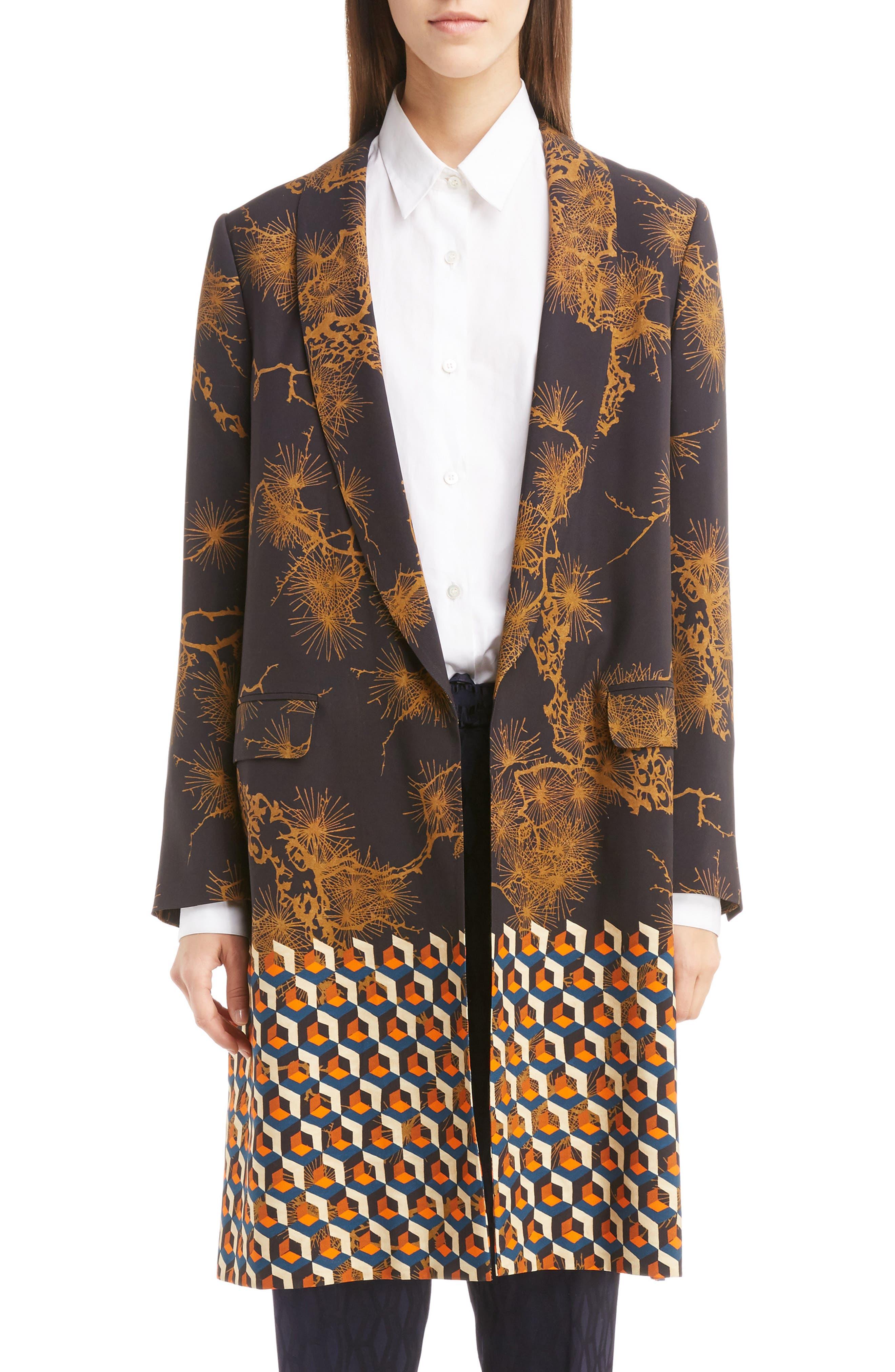 Mix Print Coat,                         Main,                         color, Desa