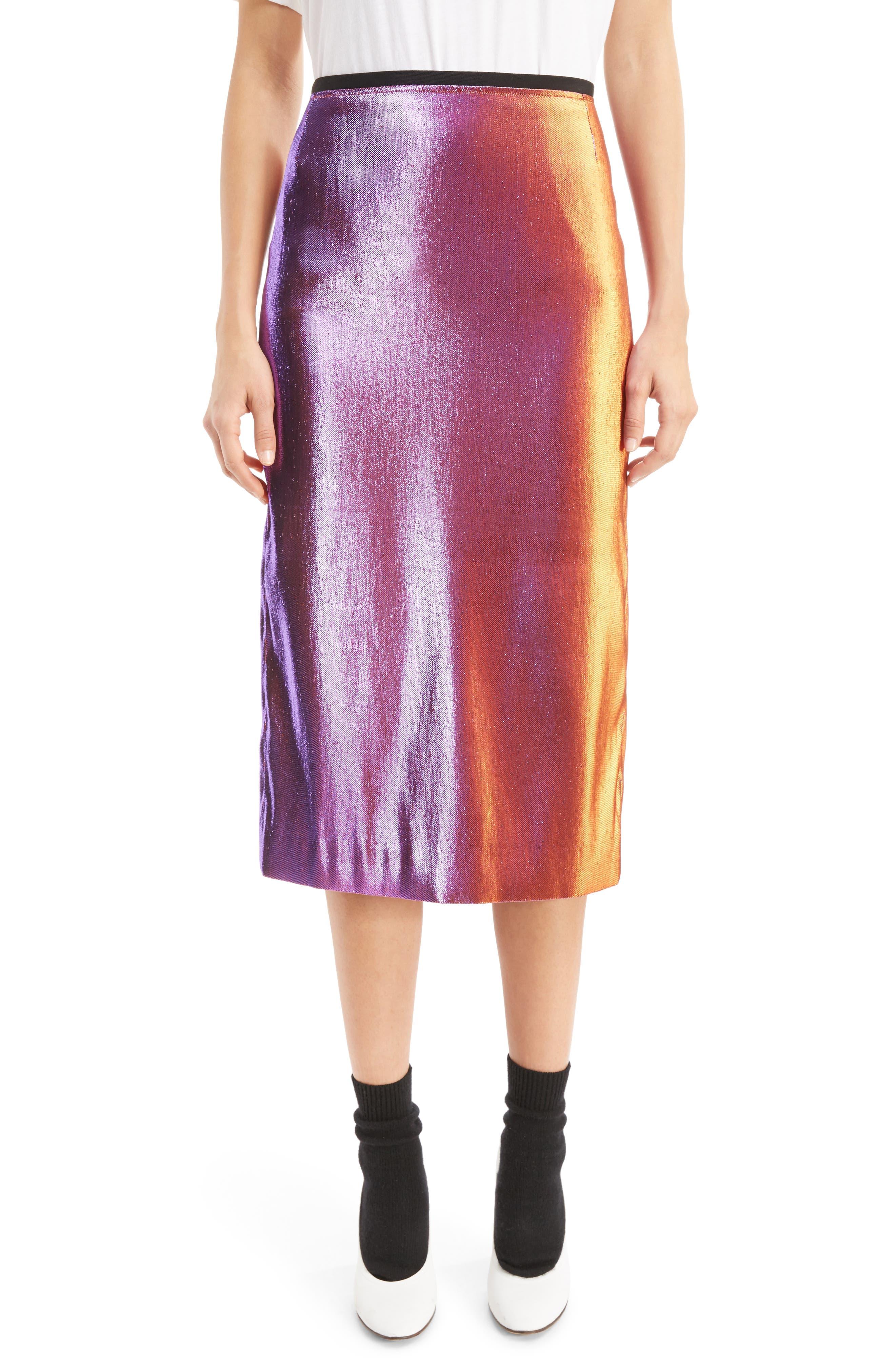 Two-Tone Lamé Pencil Skirt,                         Main,                         color, Pink