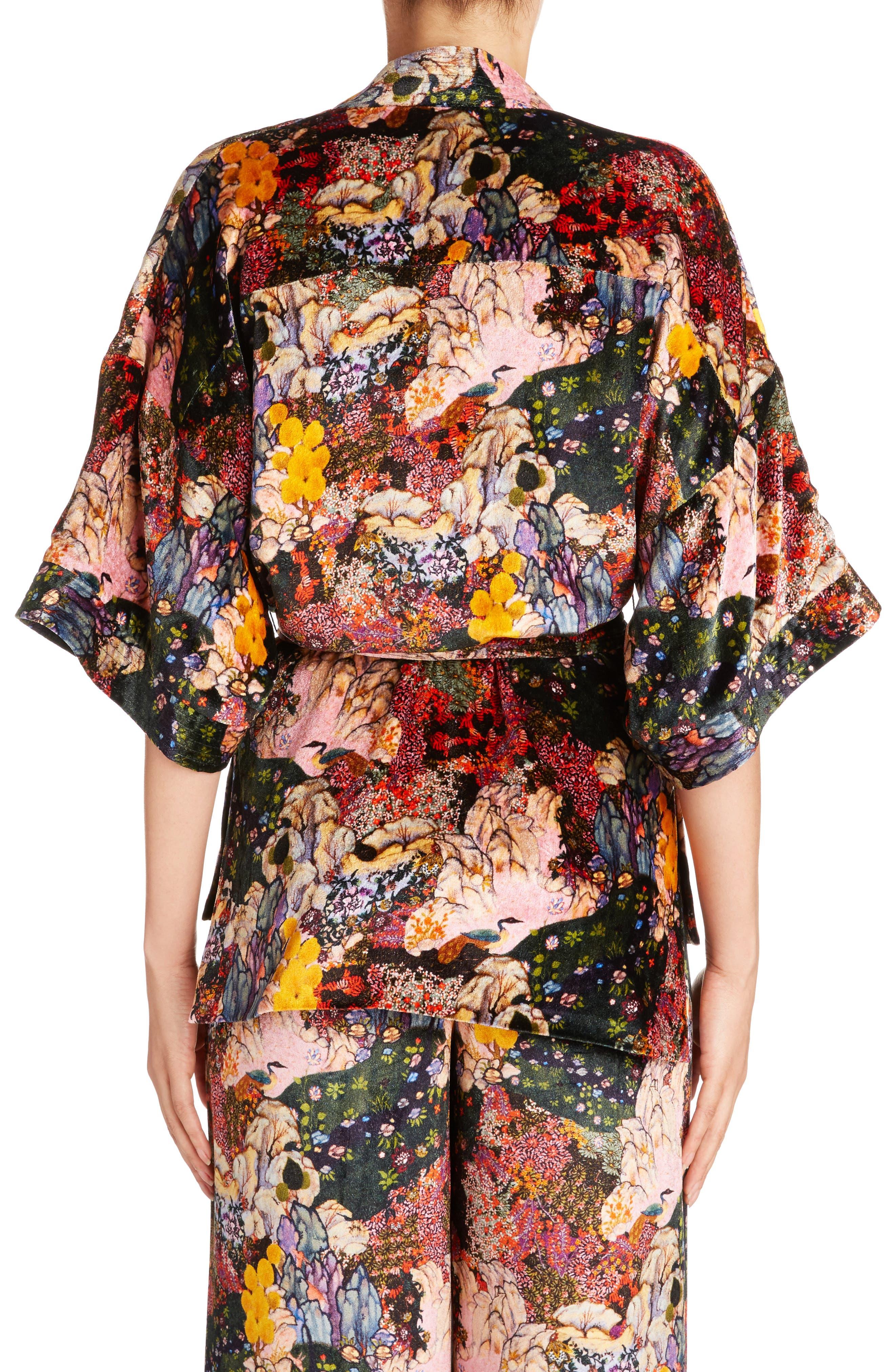 Alternate Image 2  - Erdem Zeta Floral Print Velvet Kimono Wrap Jacket