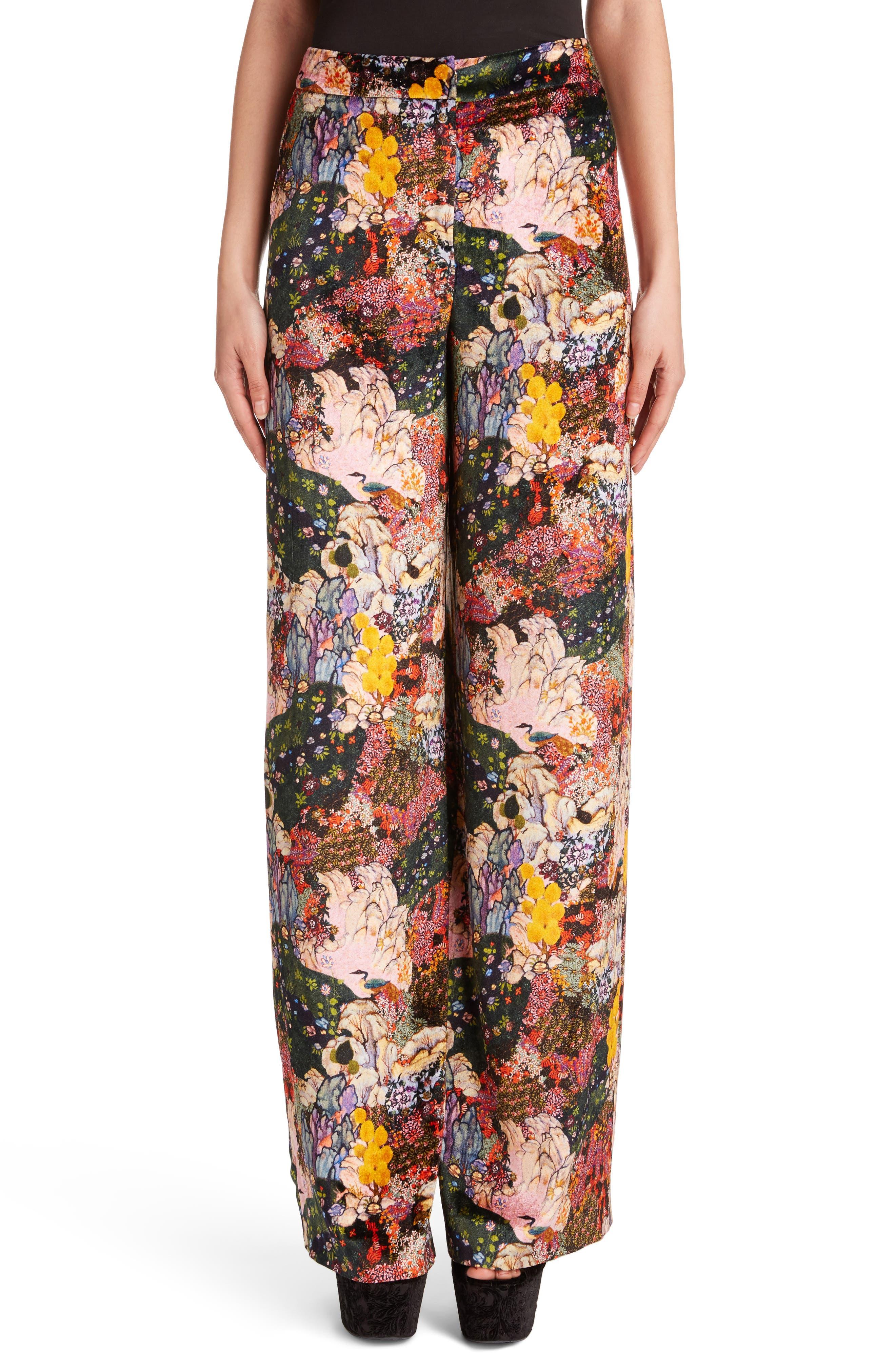 Erdem Birte Flroal Print Velvet High Waist Pants