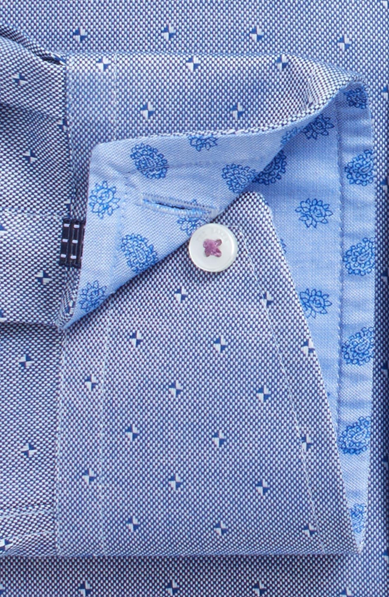 Jamer Trim Fit Dot Dress Shirt,                             Alternate thumbnail 4, color,                             Navy