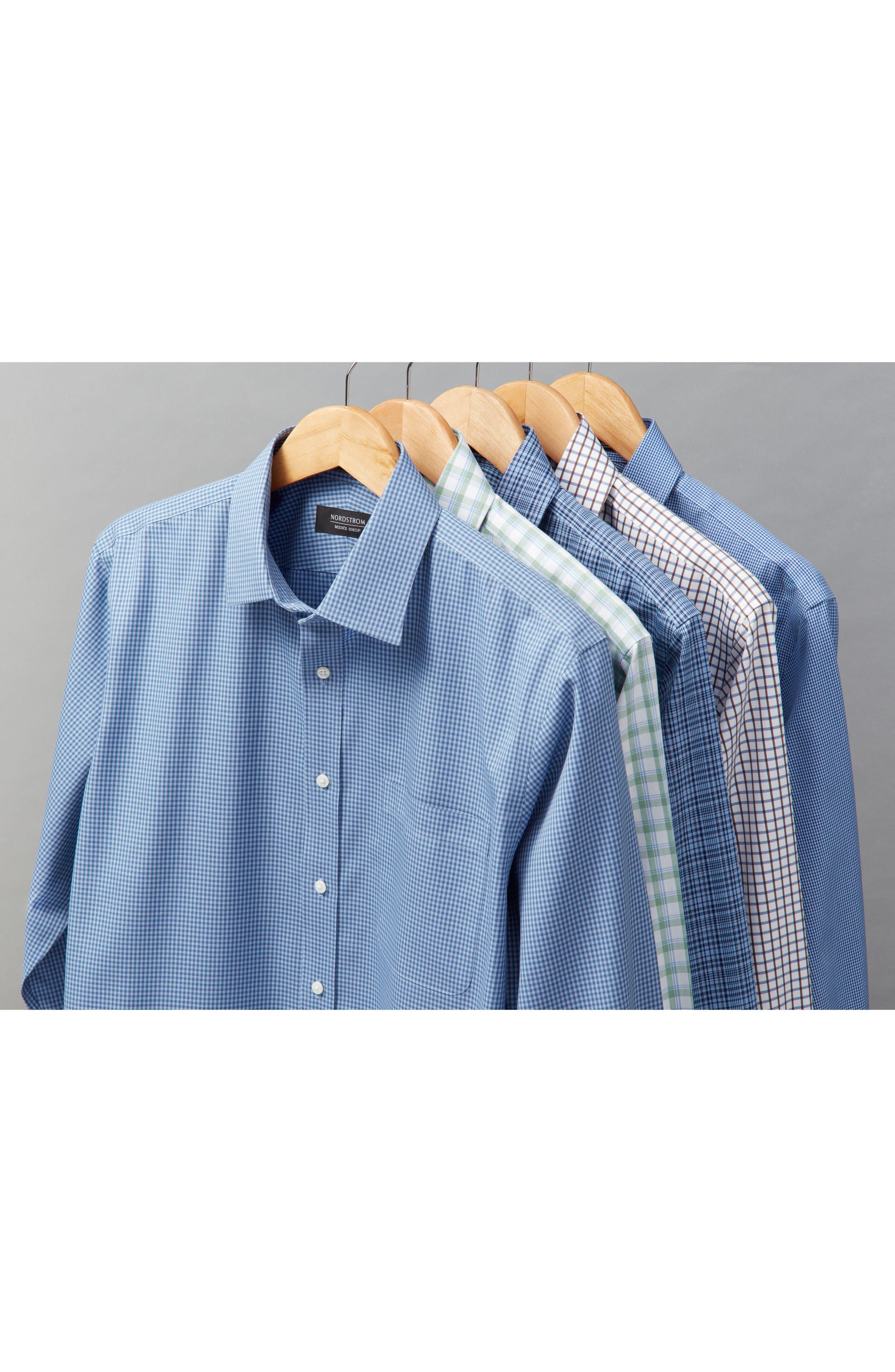 Smartcare<sup>™</sup> Trim Fit Check Dress Shirt,                             Alternate thumbnail 4, color,