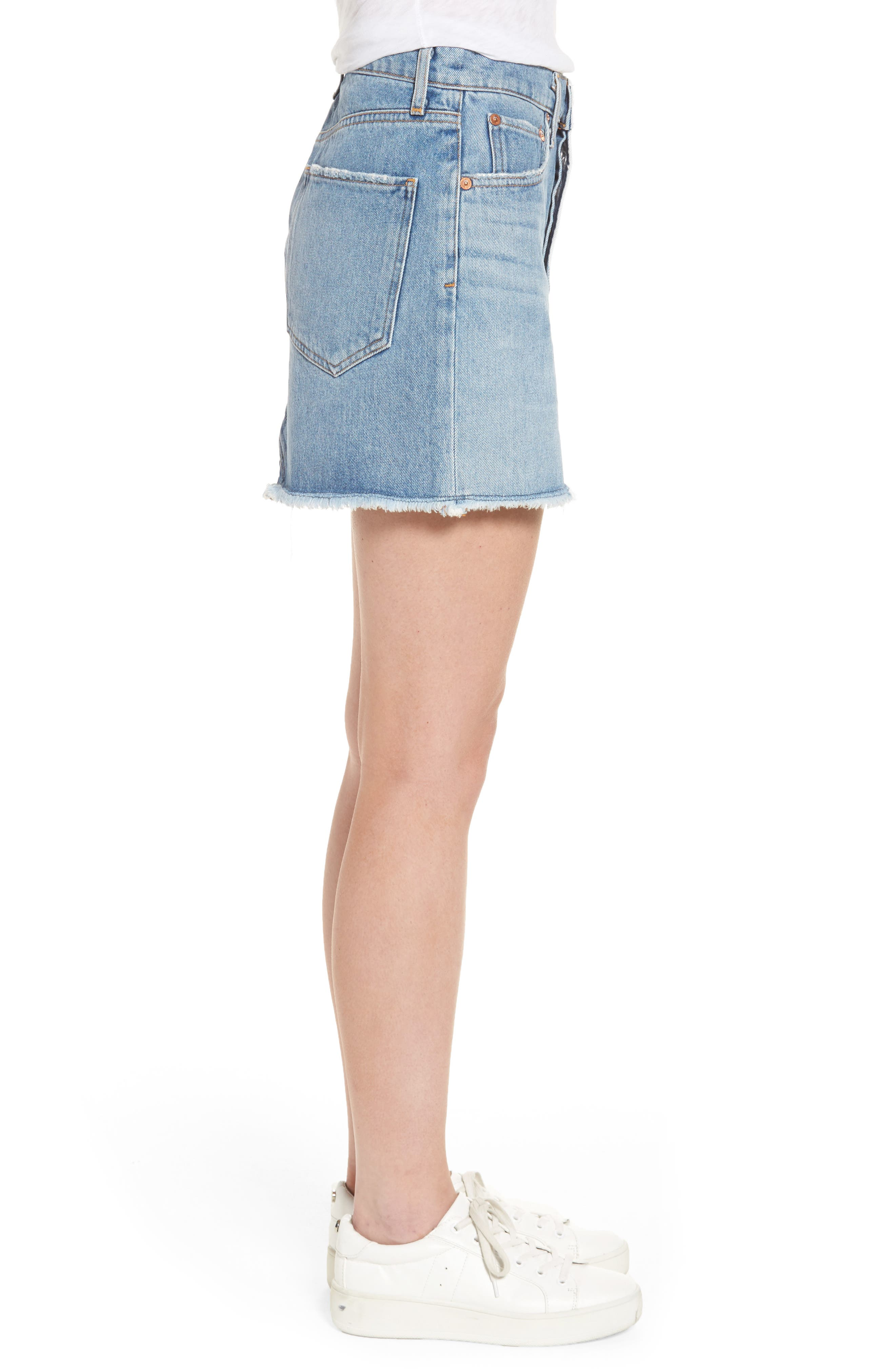 Quinn High Waist Denim Miniskirt,                             Alternate thumbnail 3, color,                             Devotee