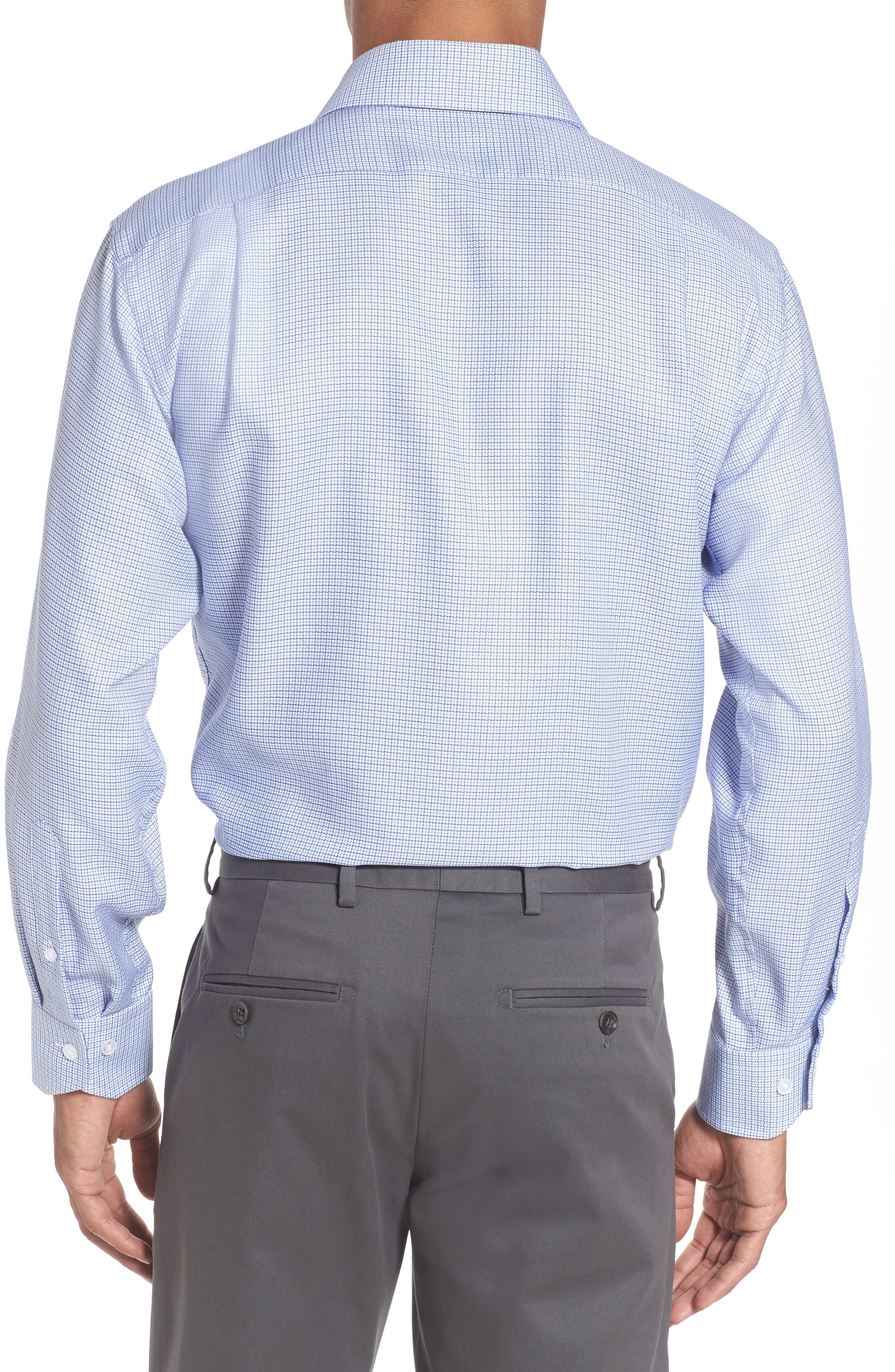Trim Fit Check Dress Shirt,                             Alternate thumbnail 2, color,                             Light Blue/ Navy