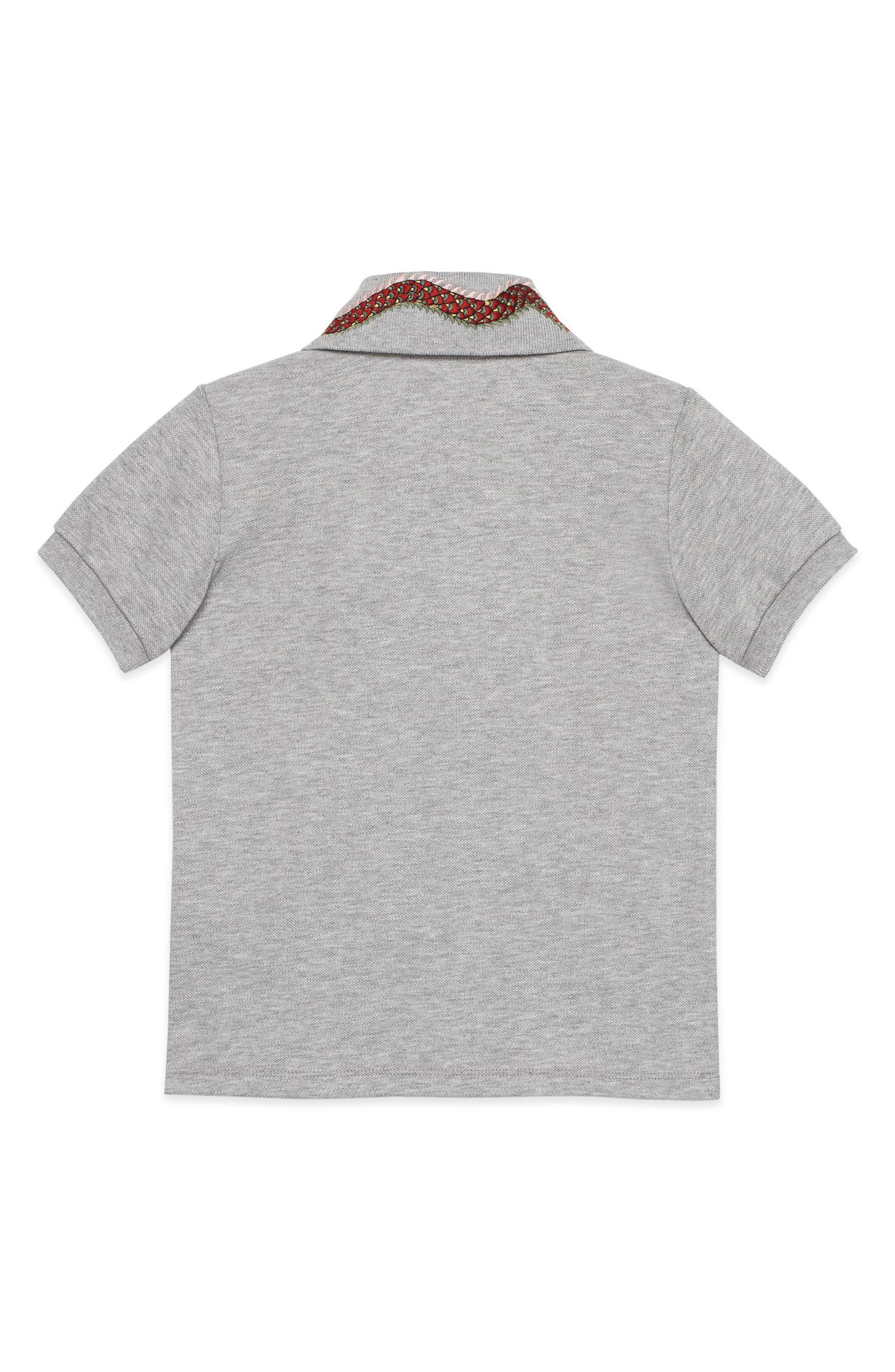 Embroidered Collar Polo,                             Alternate thumbnail 2, color,                             Grey Multi