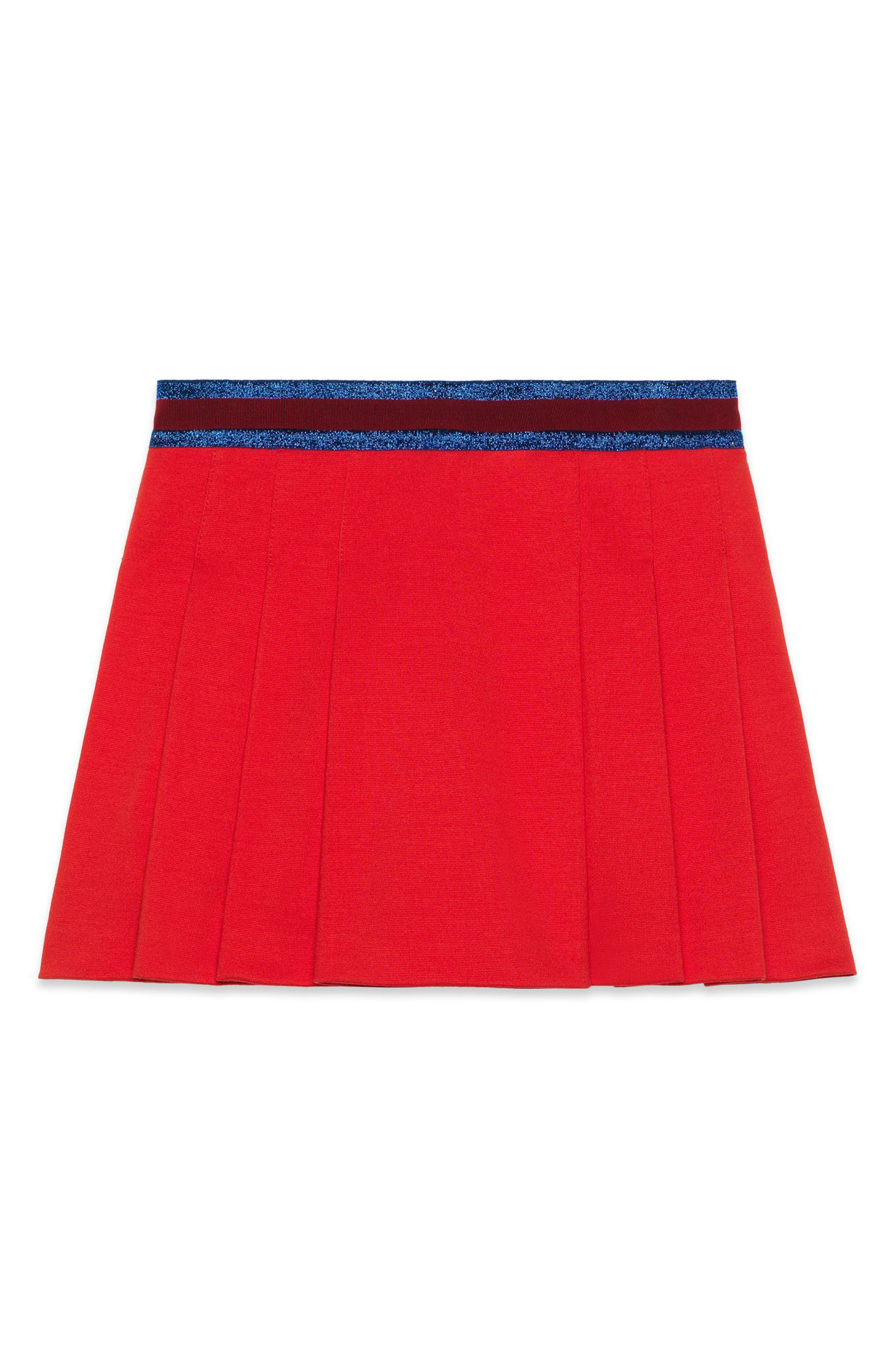 Pleated Jersey Skirt,                         Main,                         color, Red Multi
