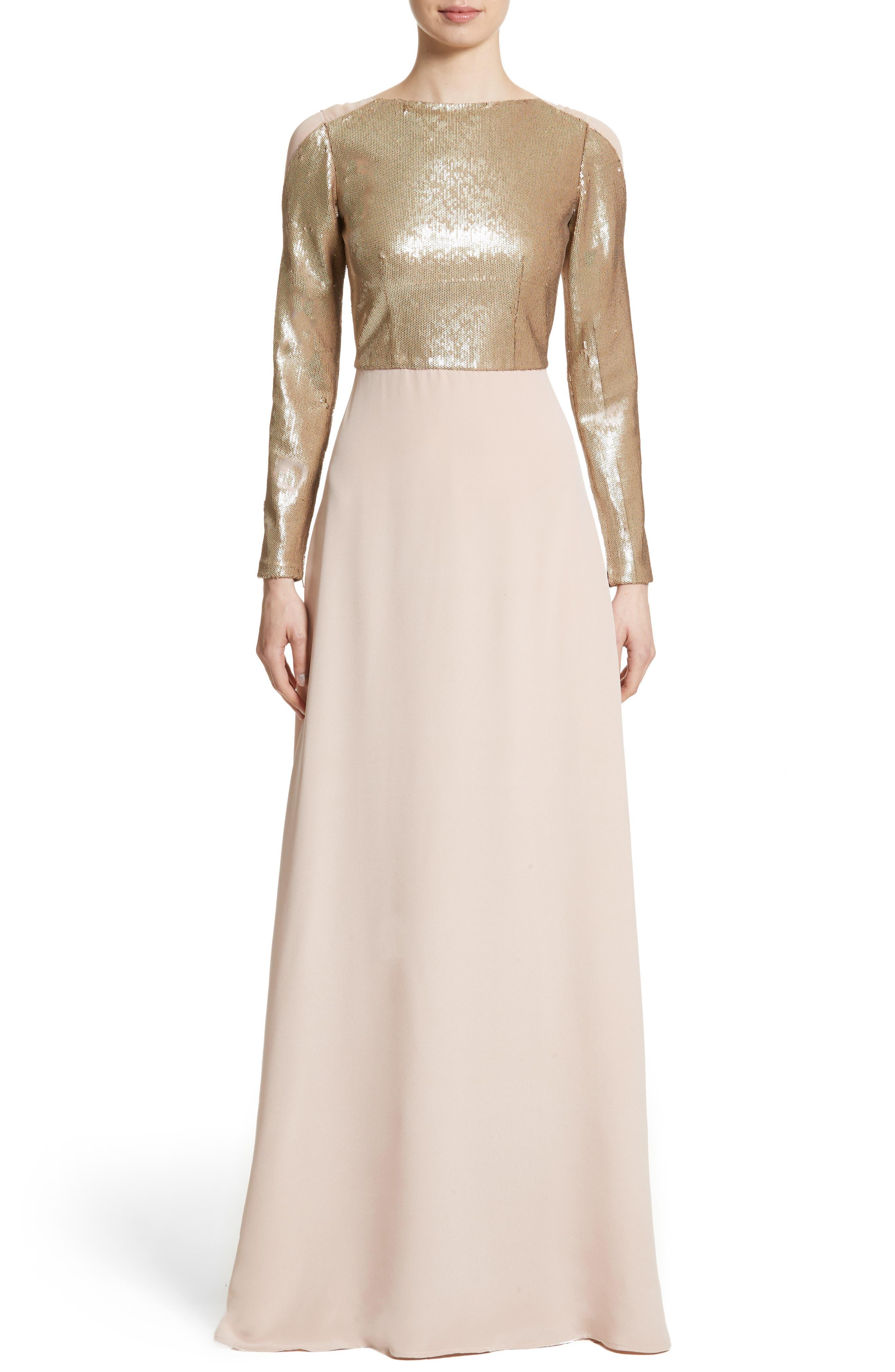 Sequin Front A-Line Silk Gown,                         Main,                         color, Blush