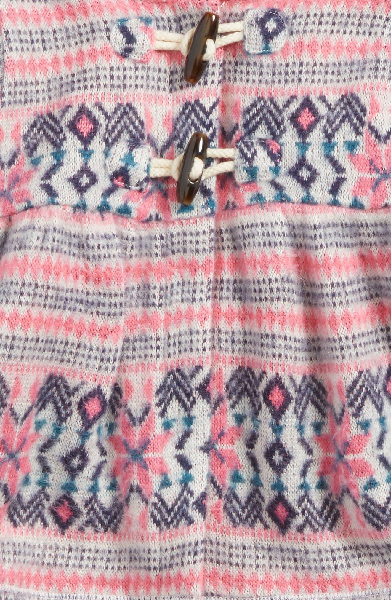 Fair Isle Hooded Jacket,                             Alternate thumbnail 2, color,                             Ivory Egret- Pink Fairisle