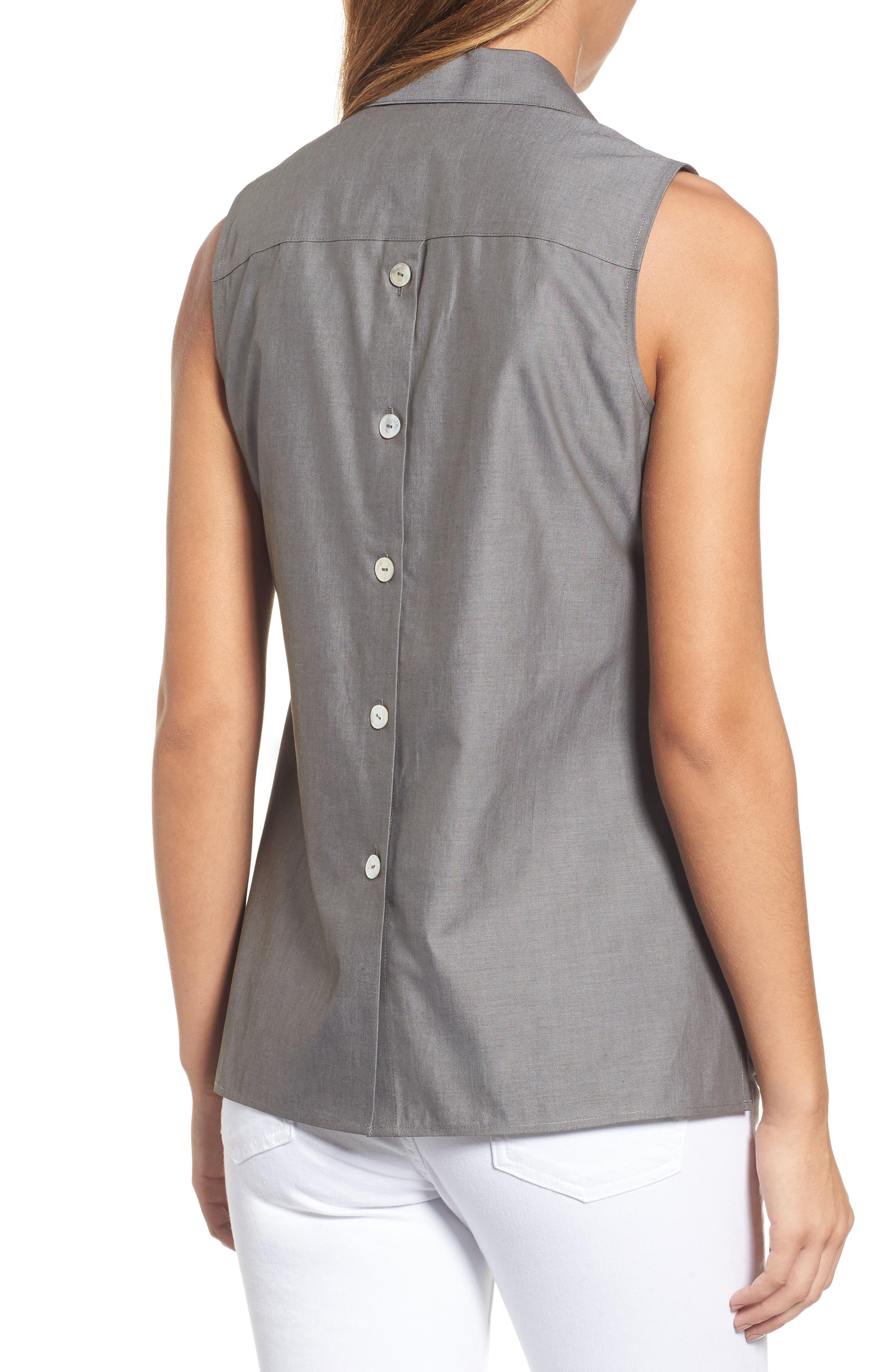 Alternate Image 2  - Foxcroft Dani Button Back Shirt (Regular & Petite)