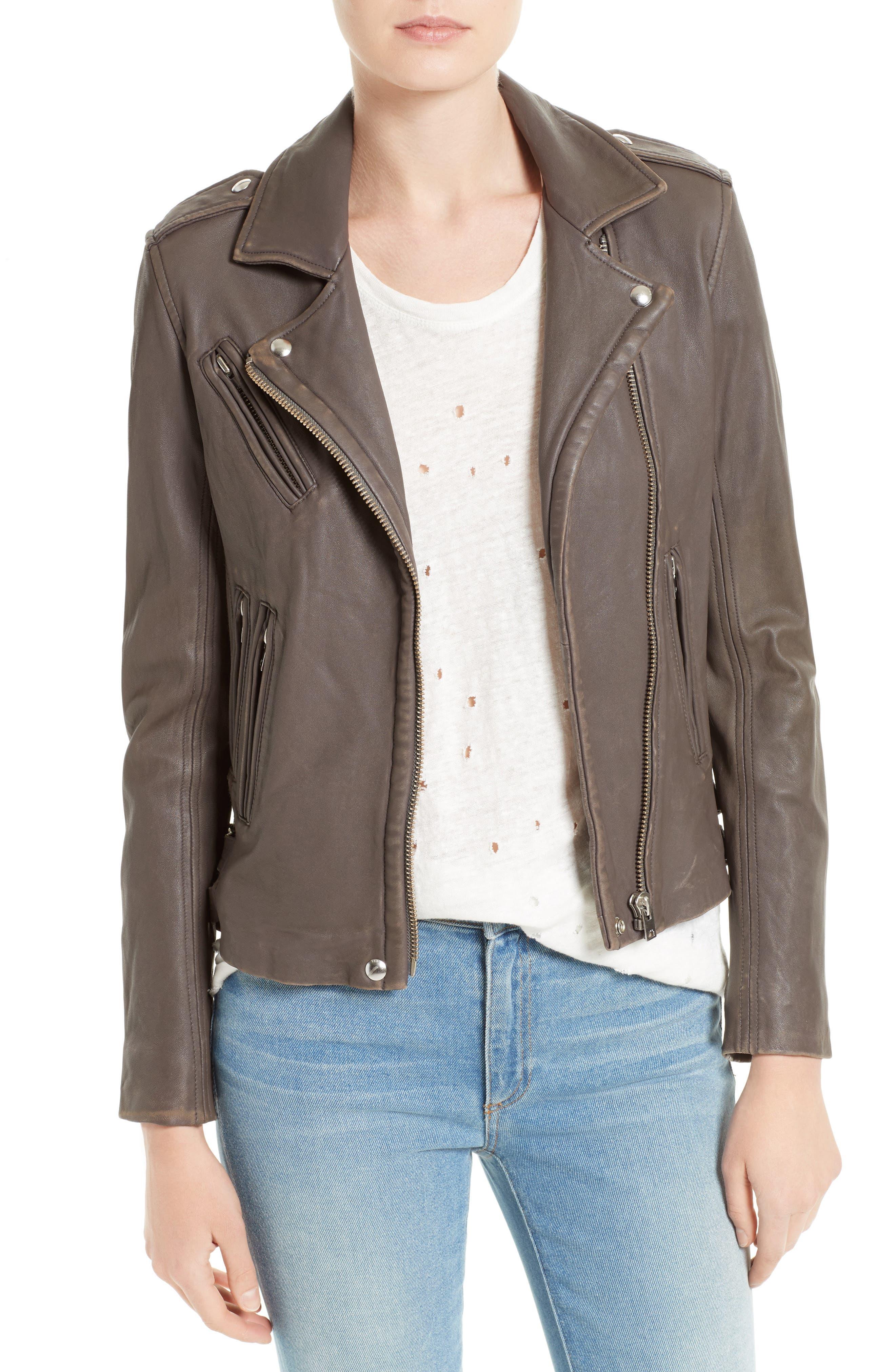 IRO 'Han' Lambskin Leather Moto Jacket