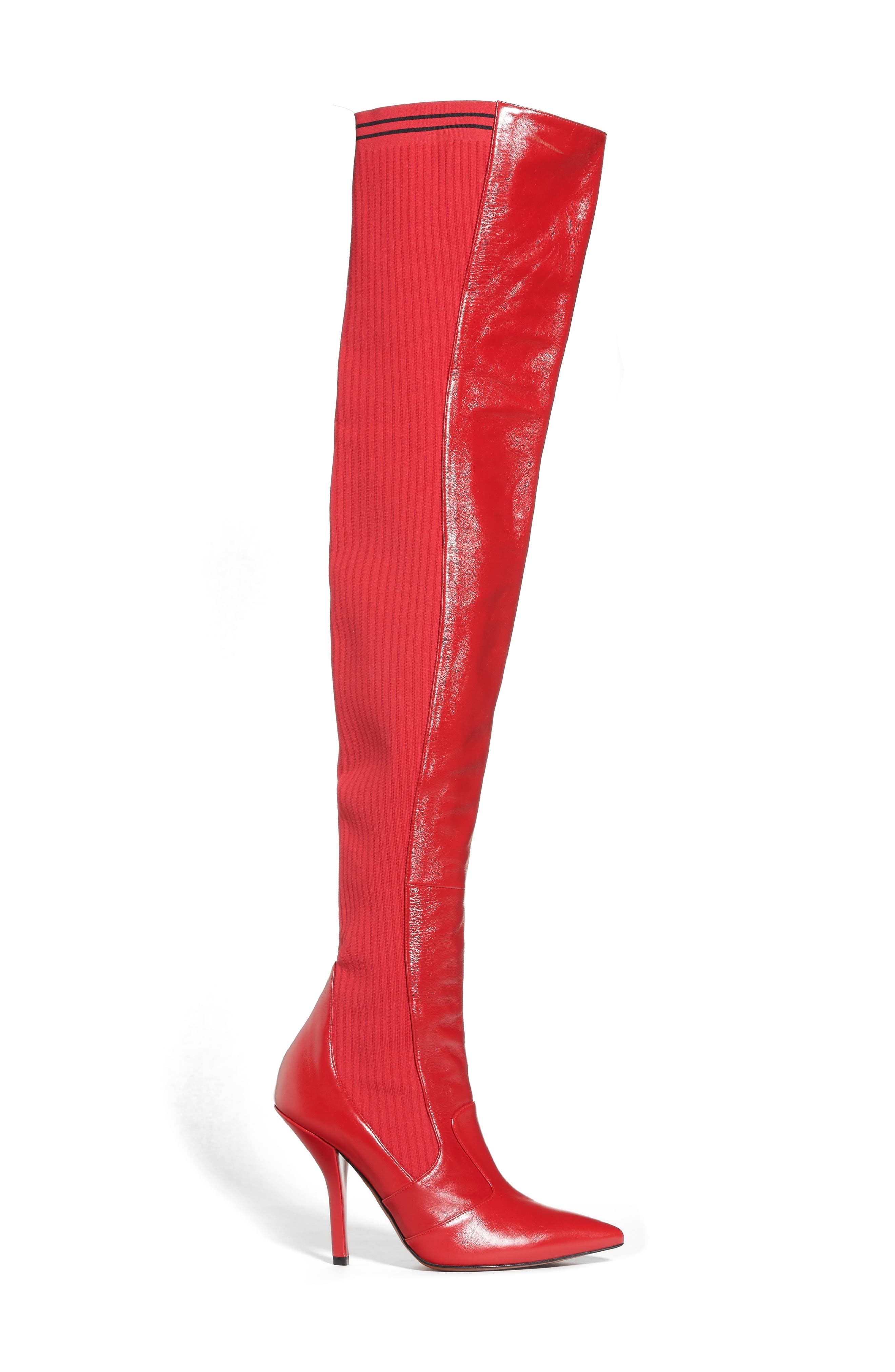 Rockoko Over the Knee Boot,                             Alternate thumbnail 4, color,                             Cherry Leather
