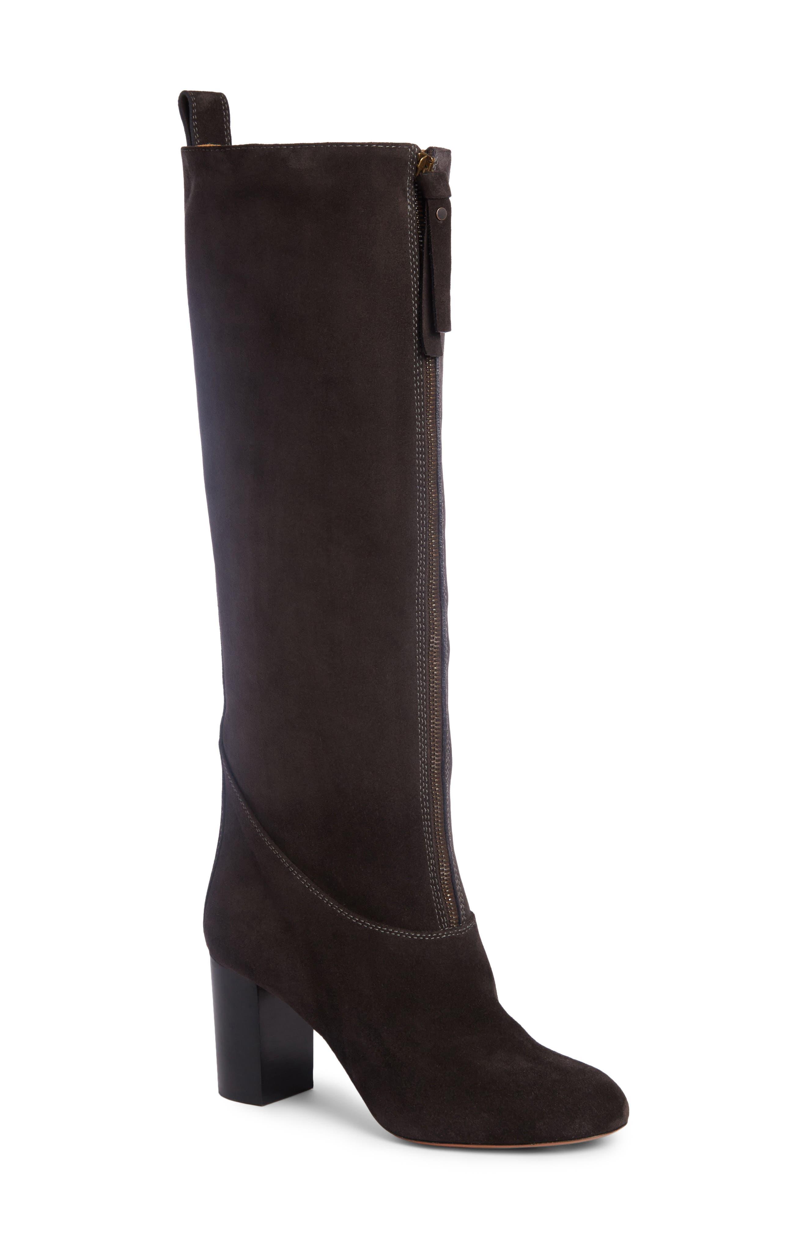 Paisley Front Zip Boot,                             Main thumbnail 1, color,                             Charcoal Black Suede