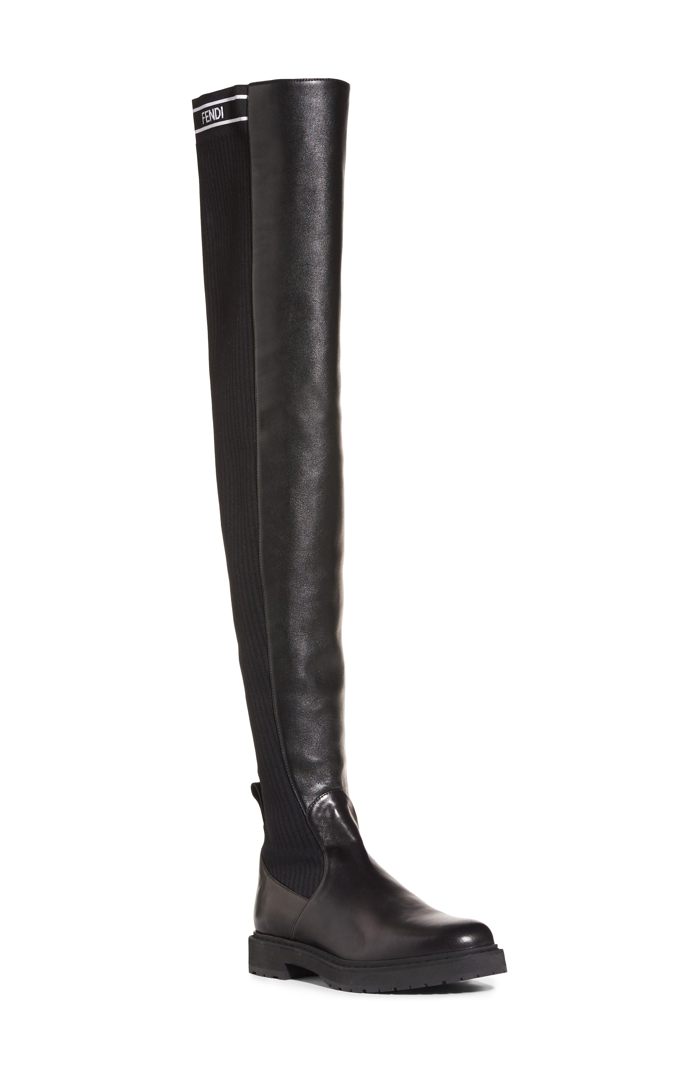 Logo Over the Knee Boot,                             Main thumbnail 1, color,                             Black Leather
