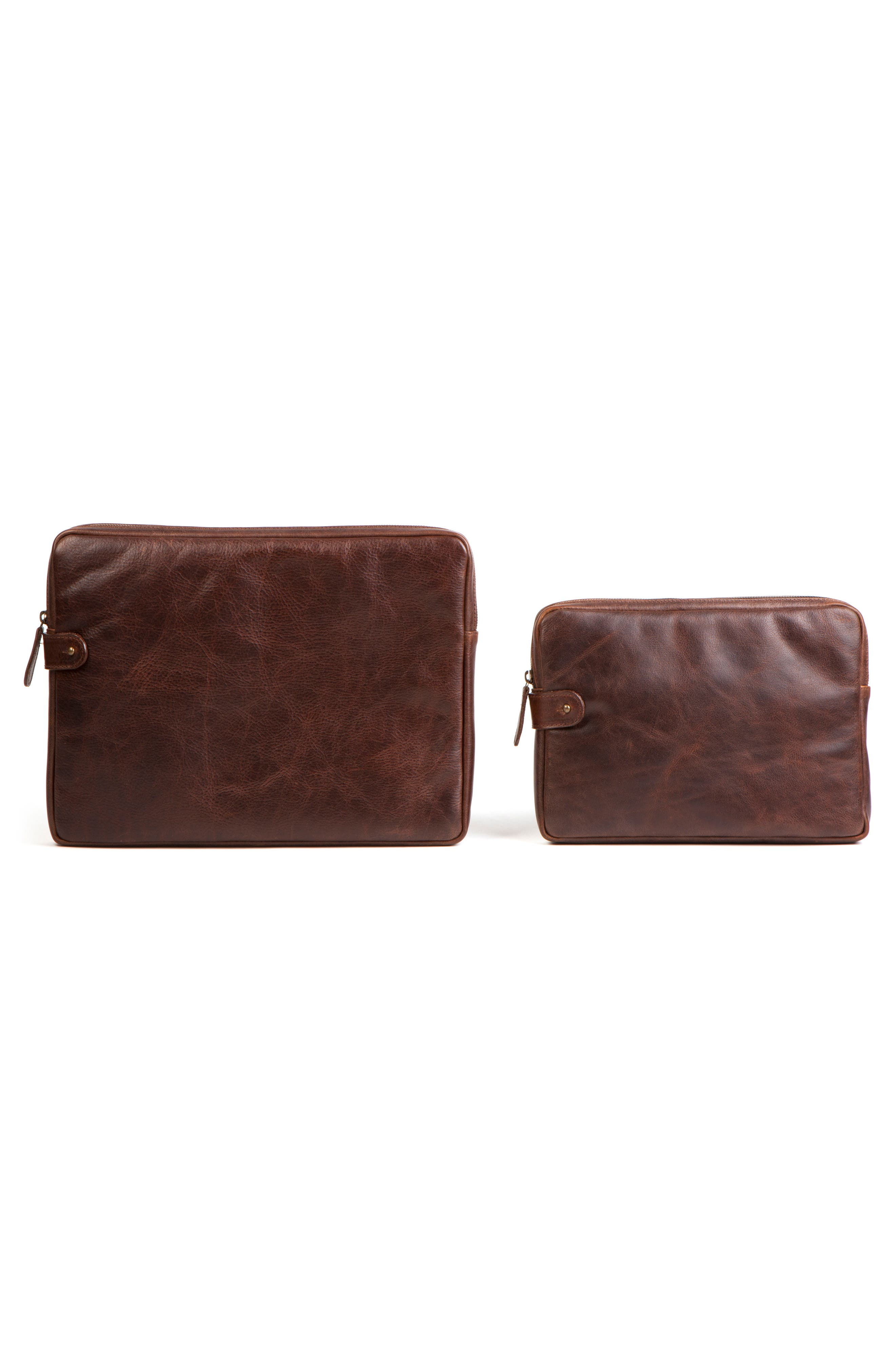 Leather Tablet Sleeve,                             Alternate thumbnail 5, color,                             Titan Milled Brown