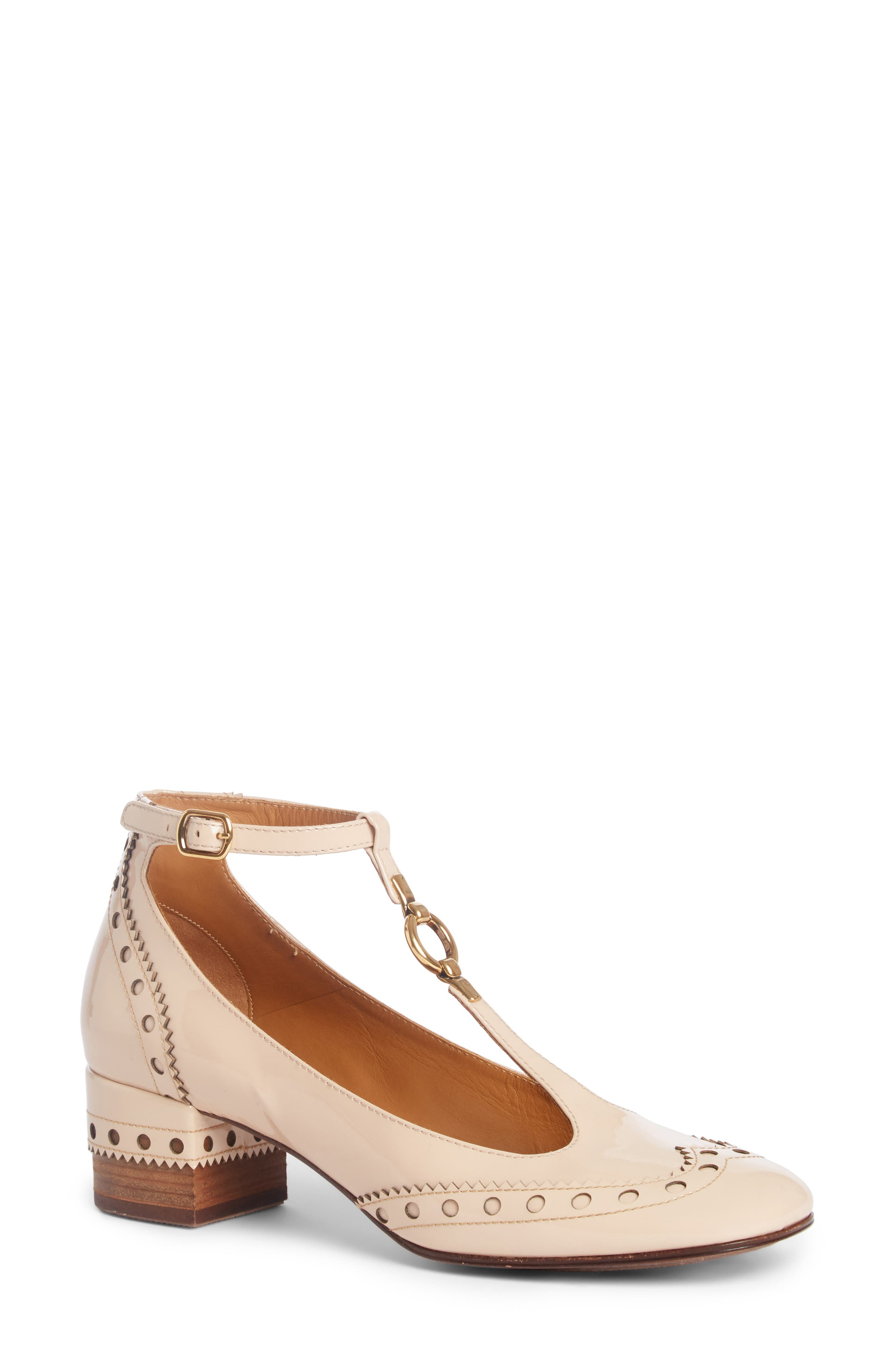 Main Image - Chloé Perry Wingtip T-Strap Pump (Women)