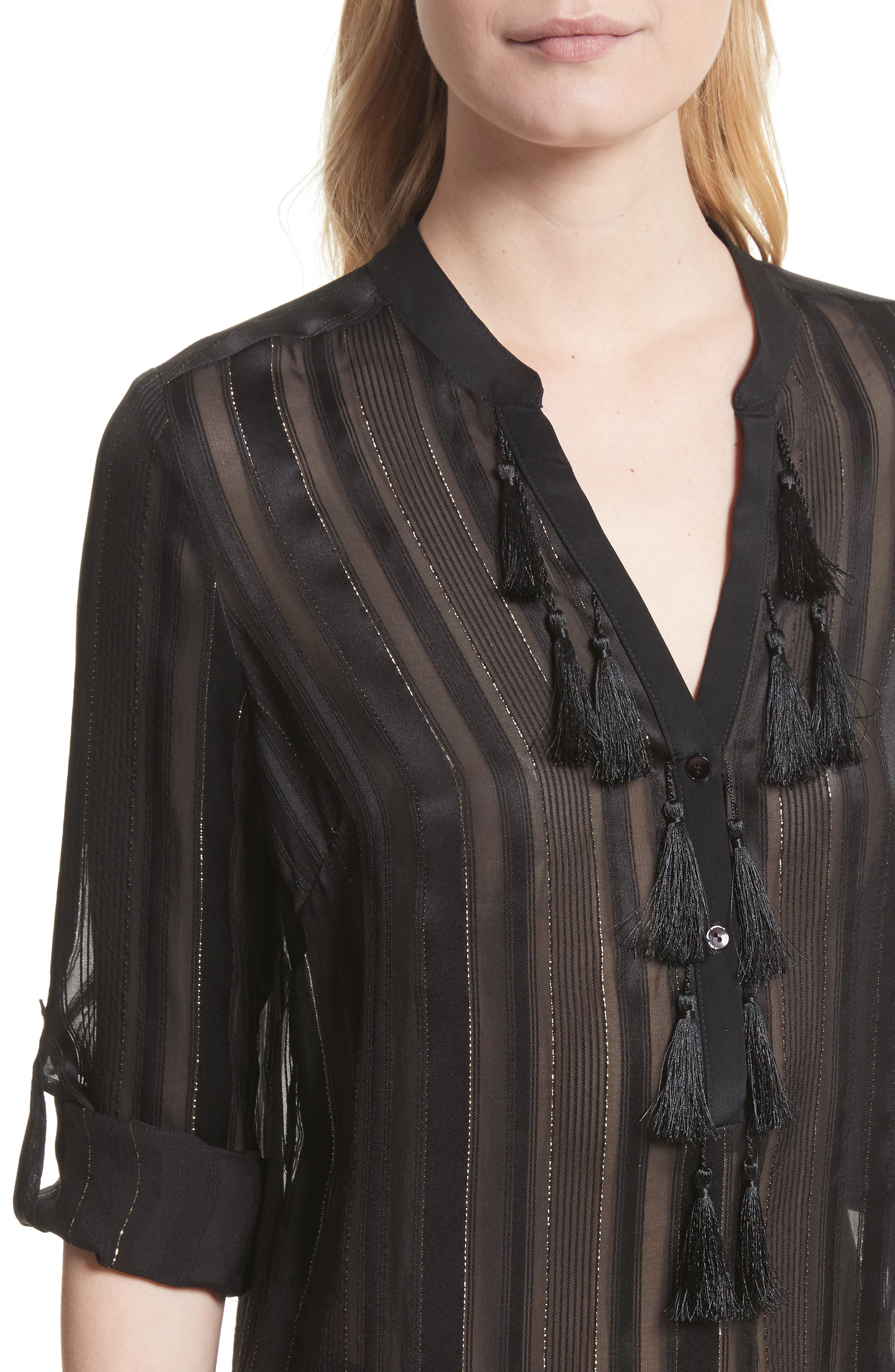 Nadja Tassel Blouse,                             Alternate thumbnail 4, color,                             Black/ Gold