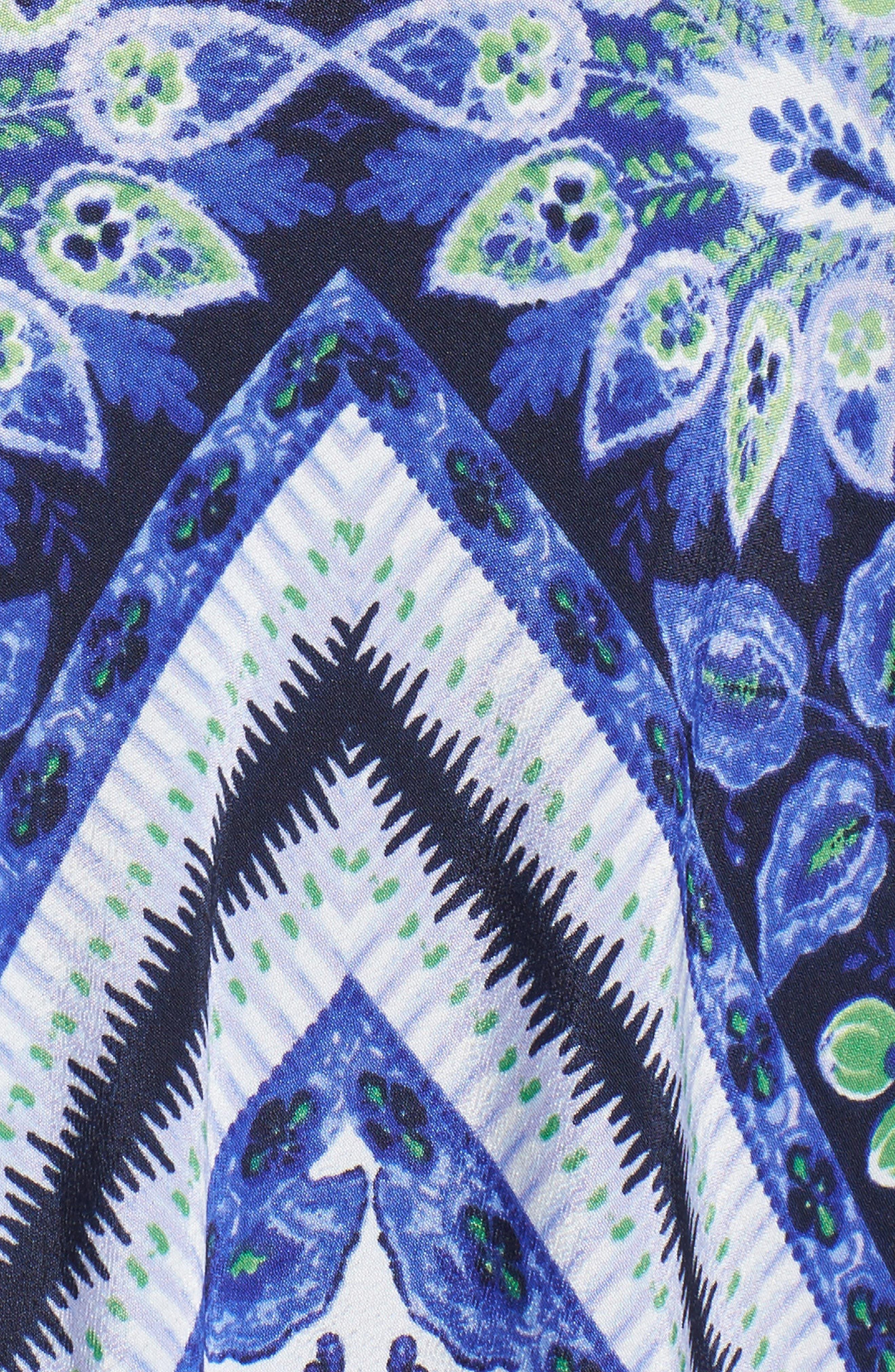 Scarf Print Maxi Dress,                             Alternate thumbnail 5, color,                             Navy/ Purple