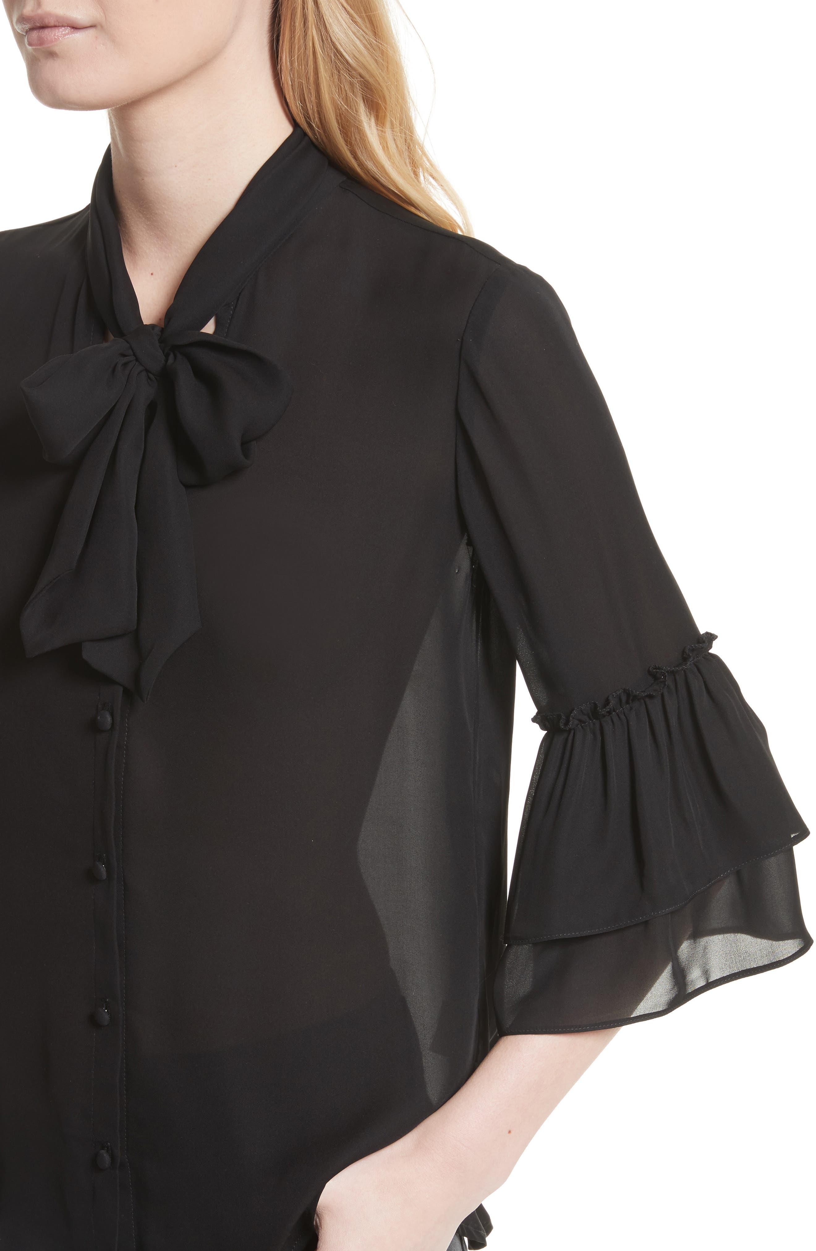 Alternate Image 4  - L'AGENCE Desa Ruffle Sleeve Silk Blouse