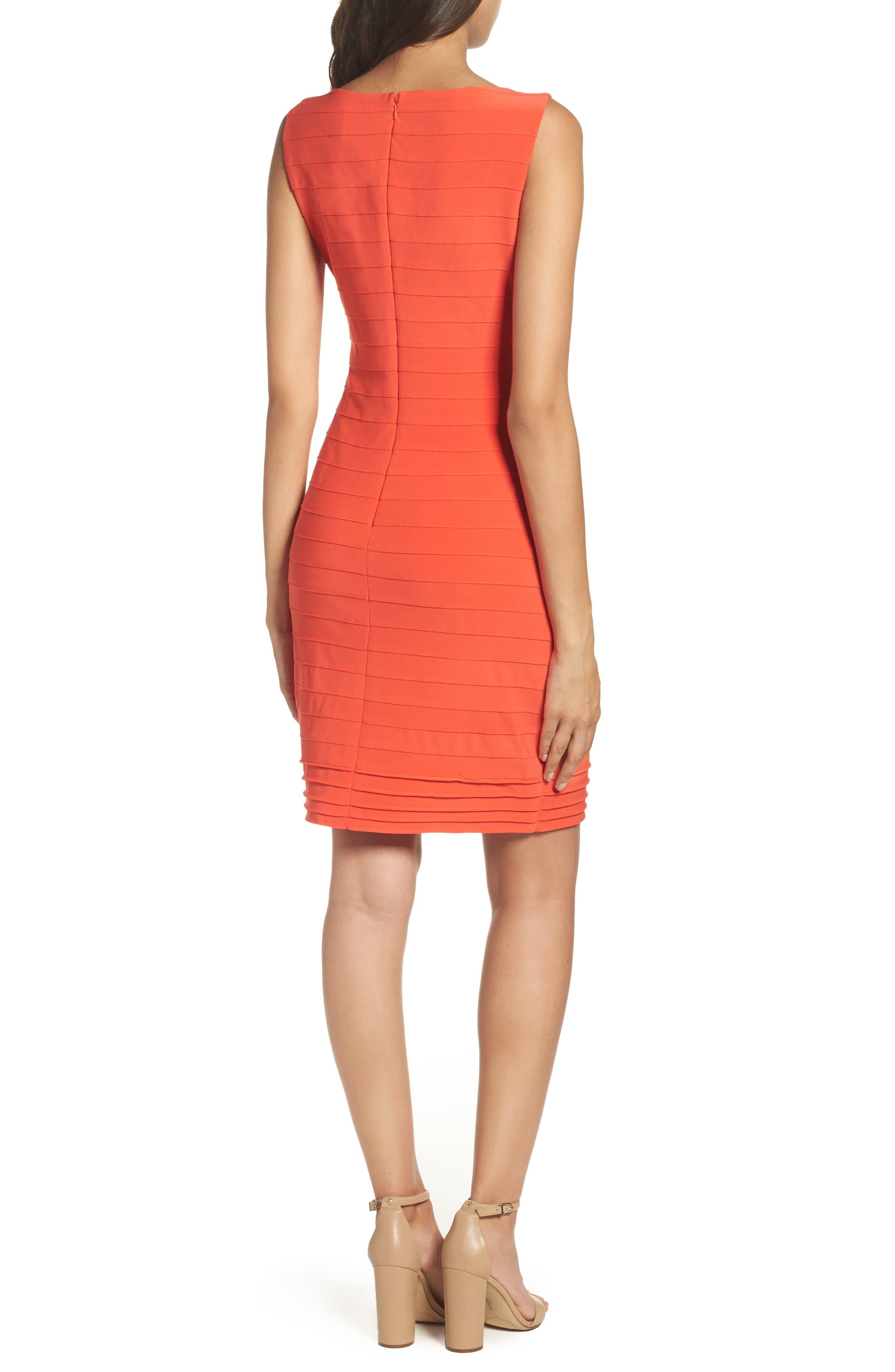 Banded Body-Con Dress,                             Alternate thumbnail 2, color,                             Fire Orange