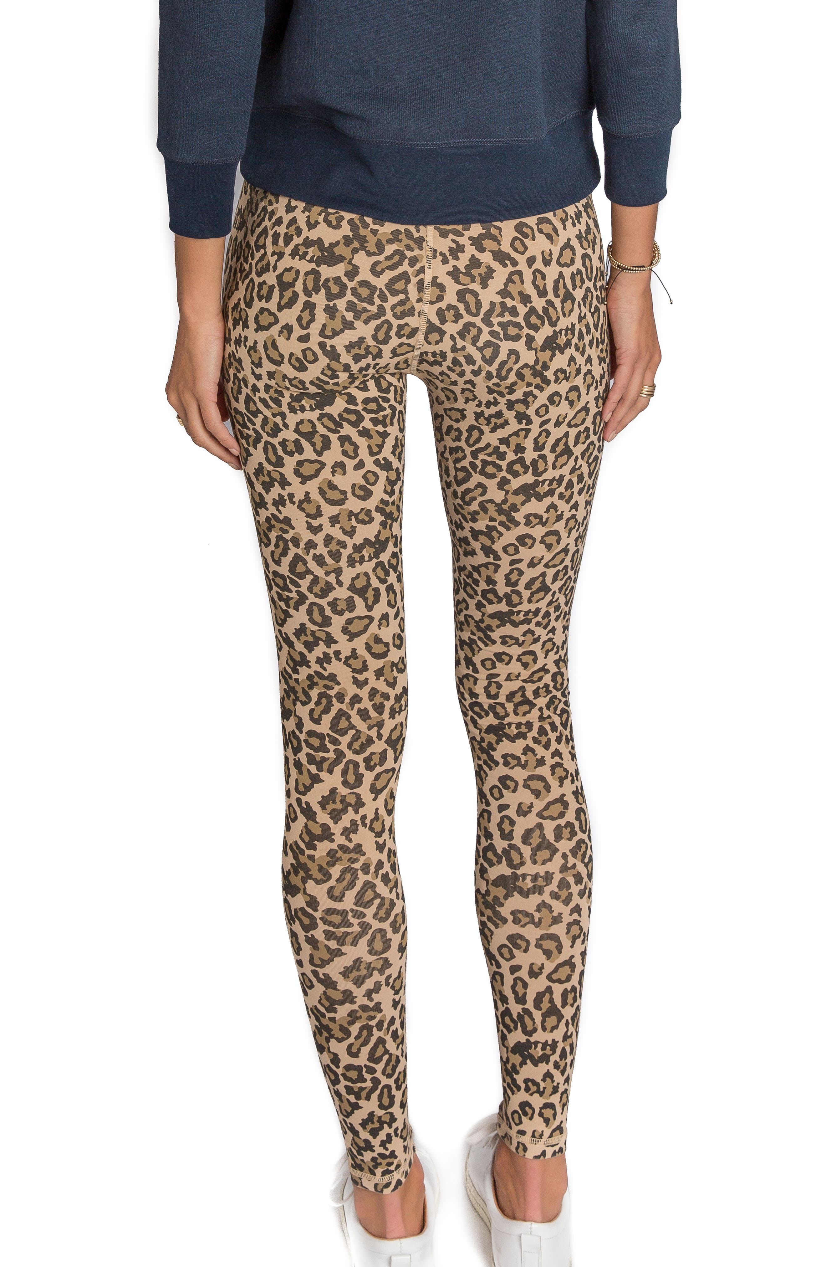 Leopard Print Leggings,                             Alternate thumbnail 2, color,                             Faded Camel