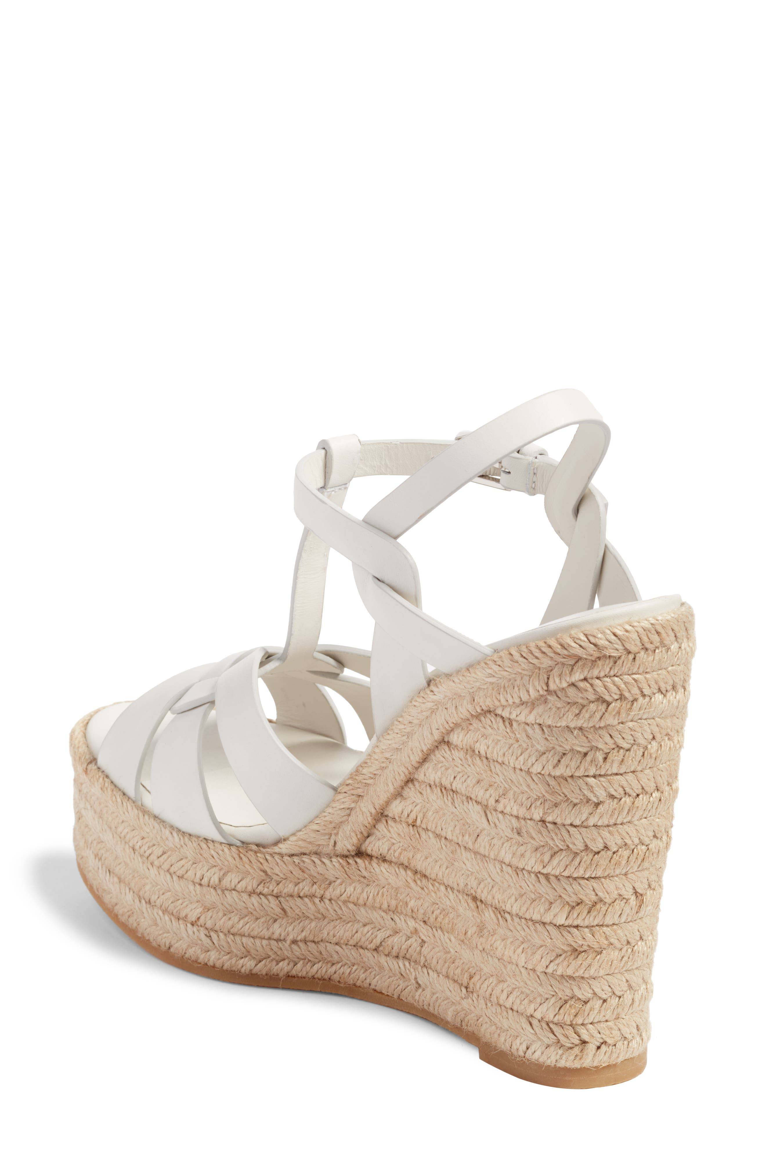 Tribute Espadrille Wedge,                             Alternate thumbnail 2, color,                             White Leather
