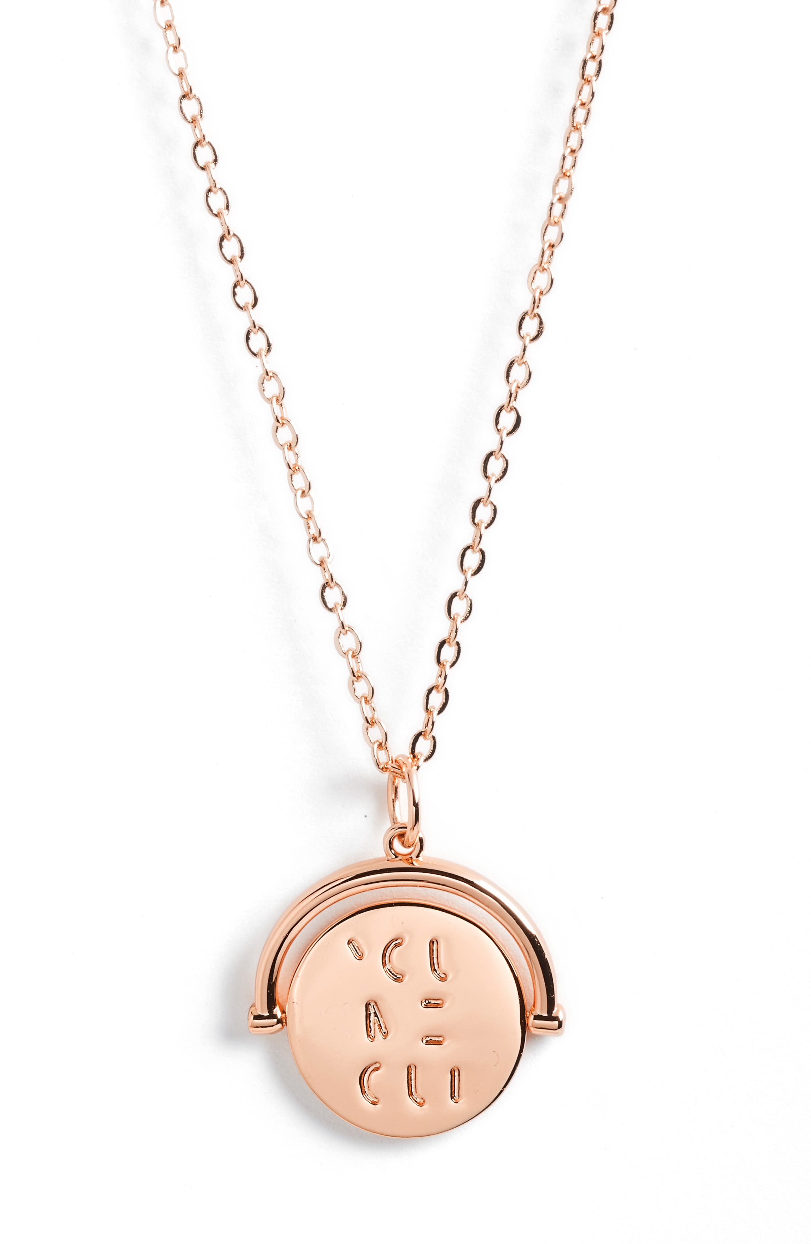 Love Code Spinning Pendant Necklace,                             Main thumbnail 1, color,                             You/Rose Gold