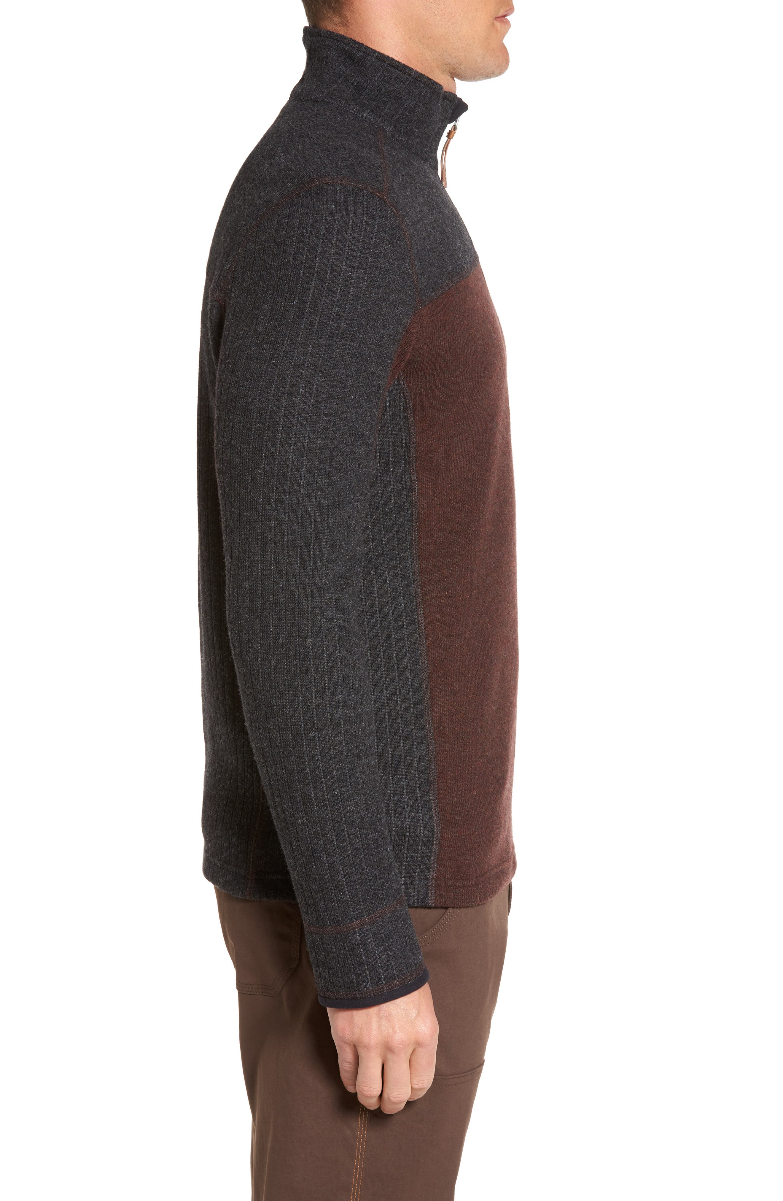 Wentworth Quarter Zip Pullover,                             Alternate thumbnail 3, color,                             Cocoa