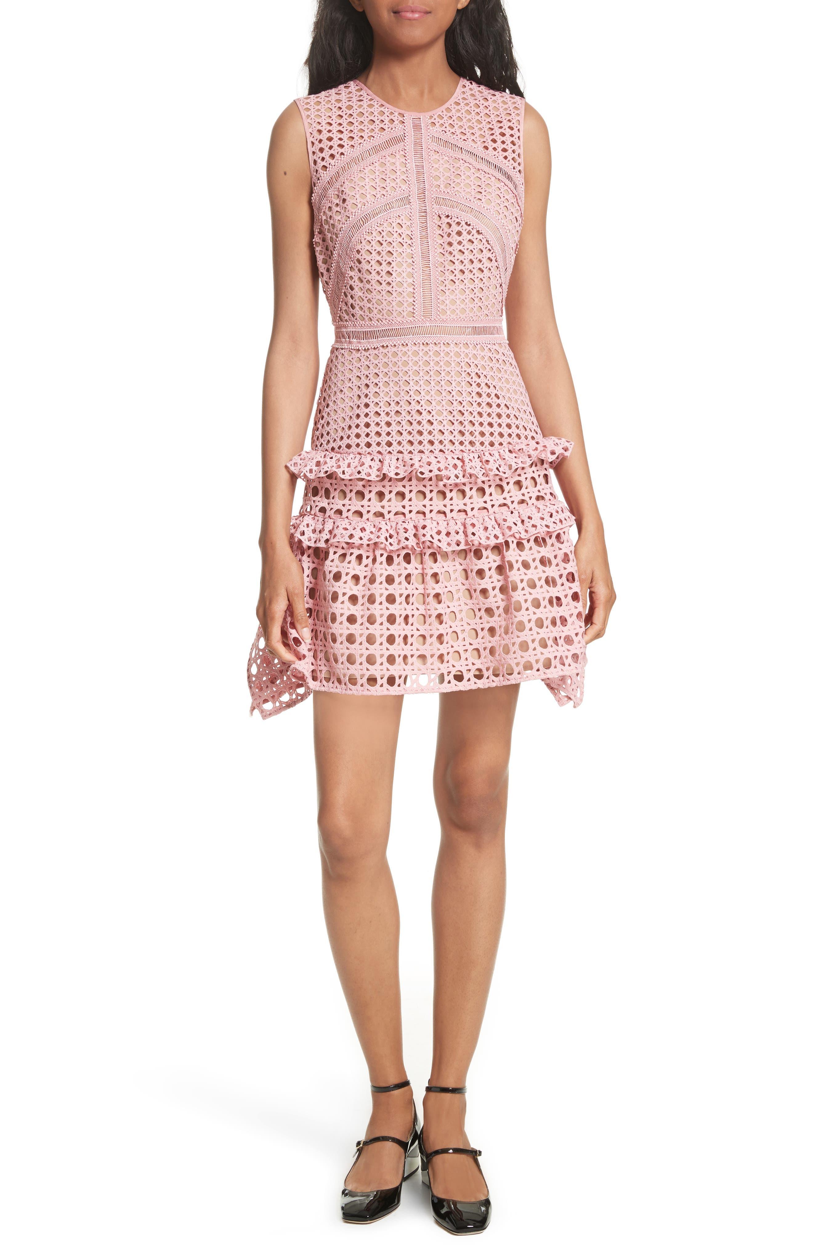 Crosshatch Frill Minidress,                         Main,                         color, Pink