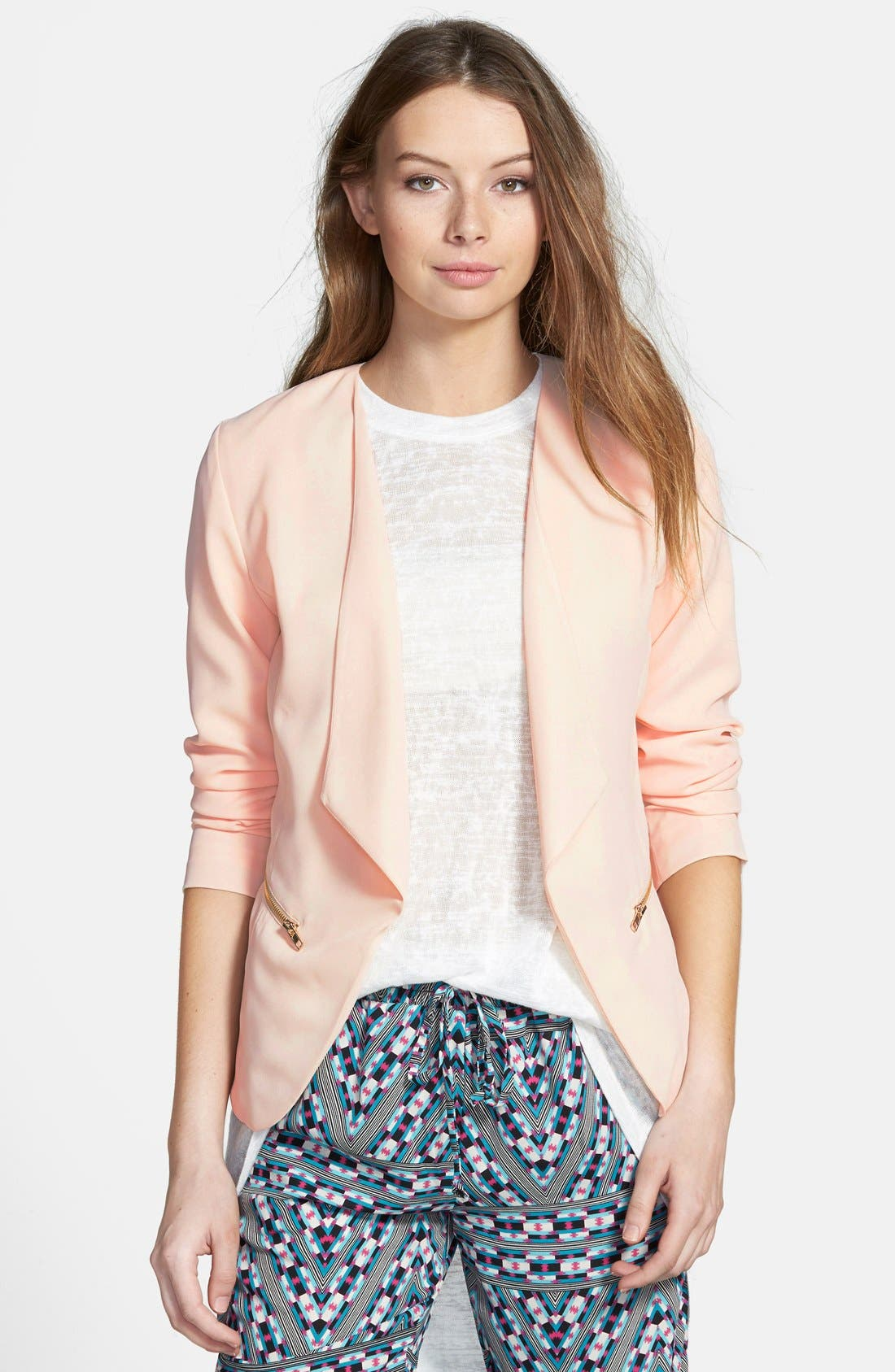 Drapey Zip Blazer,                         Main,                         color, Blush