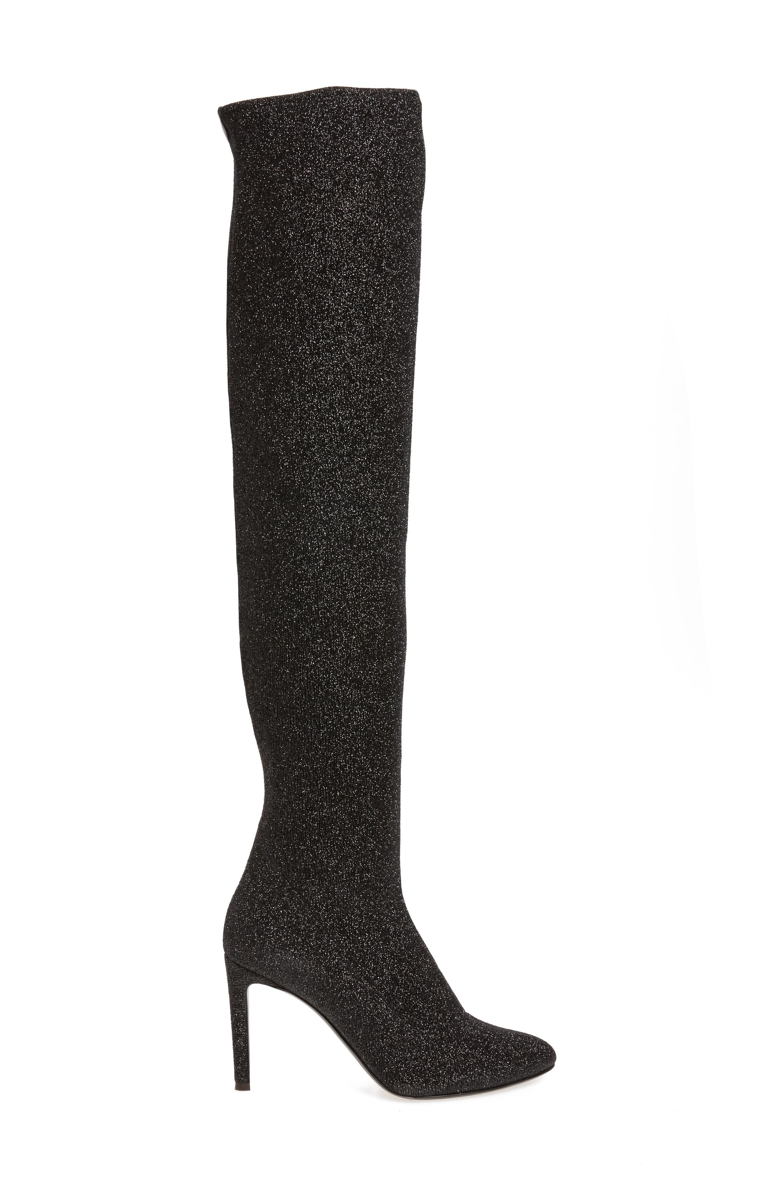 Glitter Stretch Over the Knee Boot,                             Alternate thumbnail 3, color,                             Black