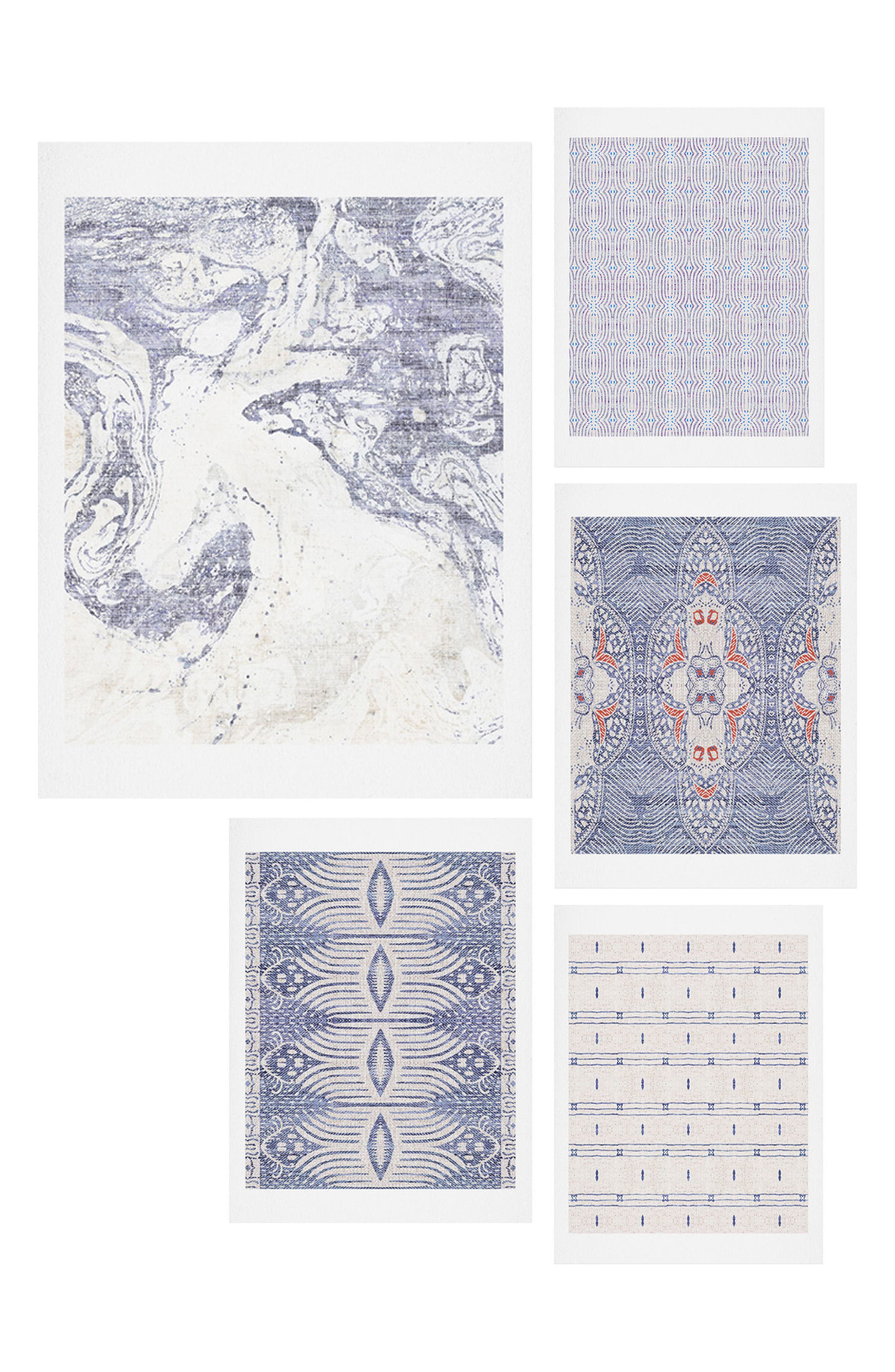 French Linen Five-Piece Gallery Wall Art Print Set,                         Main,                         color, Blue
