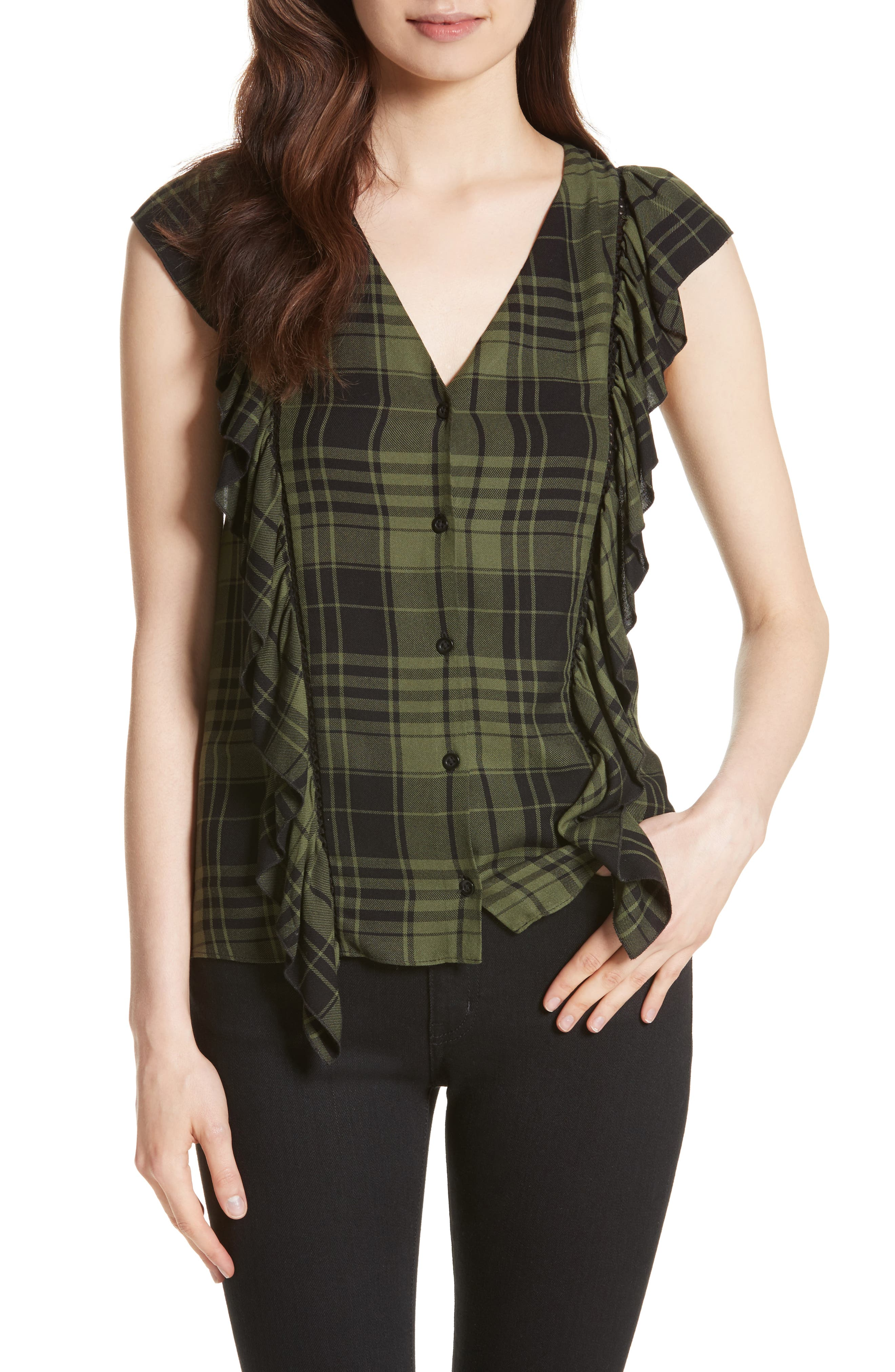 Janet Side Ruffle Blouse,                         Main,                         color, Army/ Black