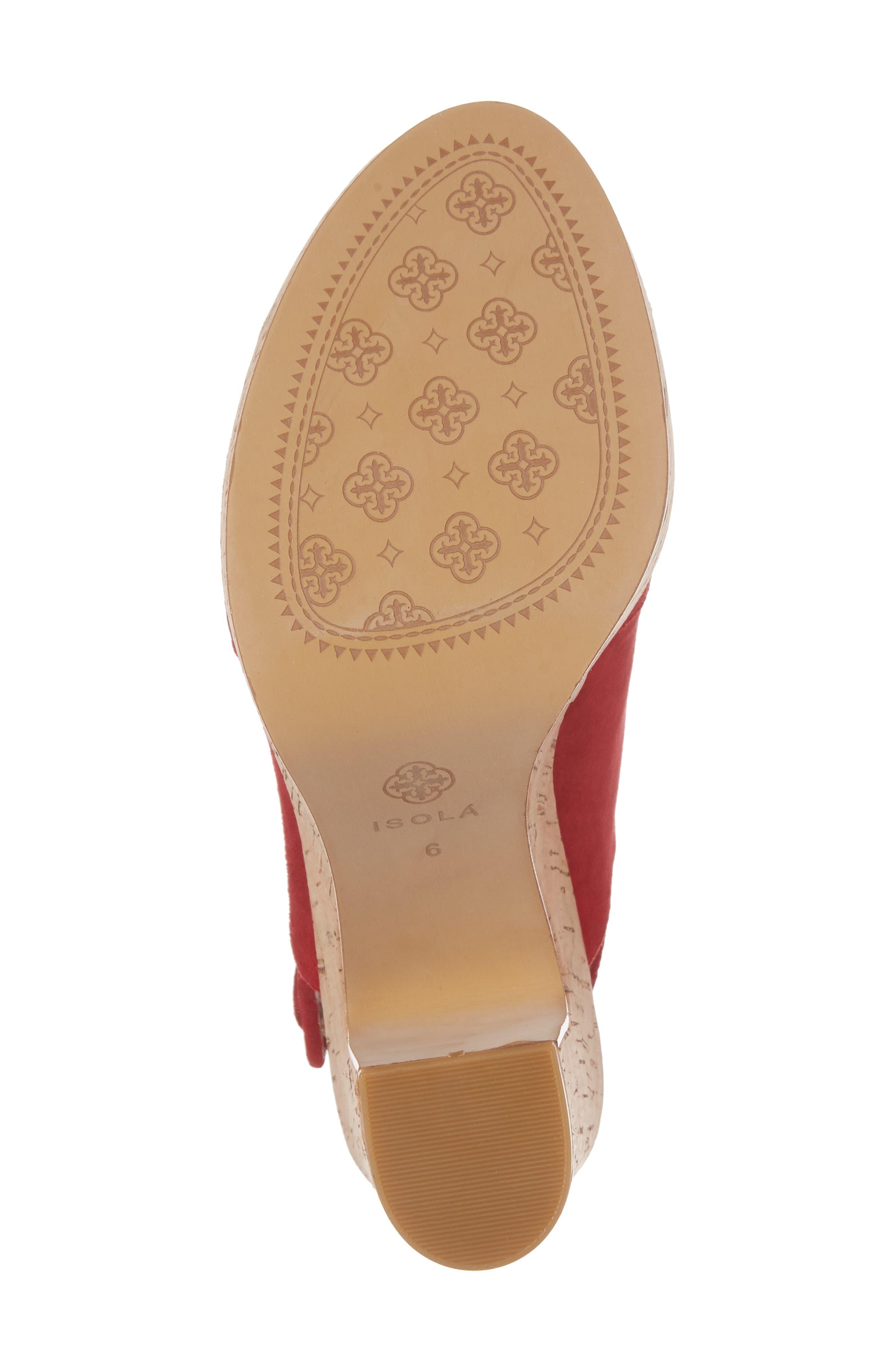 Gabriela Slingback Platform Sandal,                             Alternate thumbnail 6, color,                             Fire Red Suede