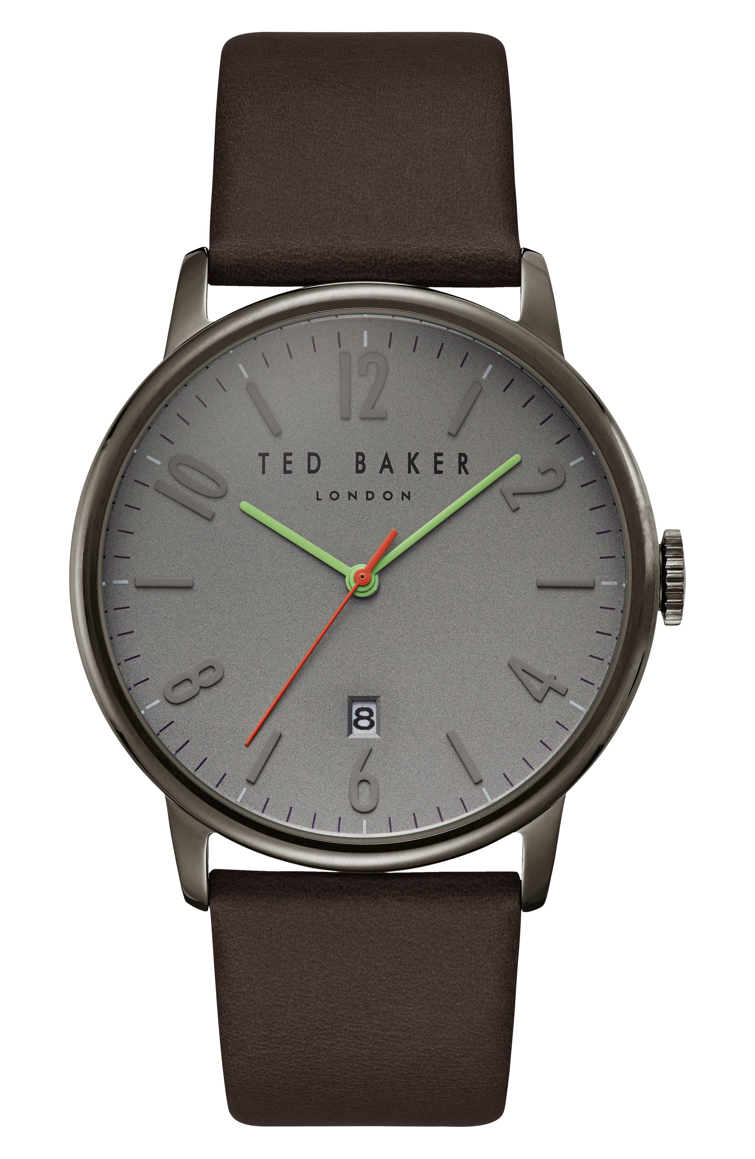 TED BAKER LONDON Thomas Leather Strap Watch, 41mm